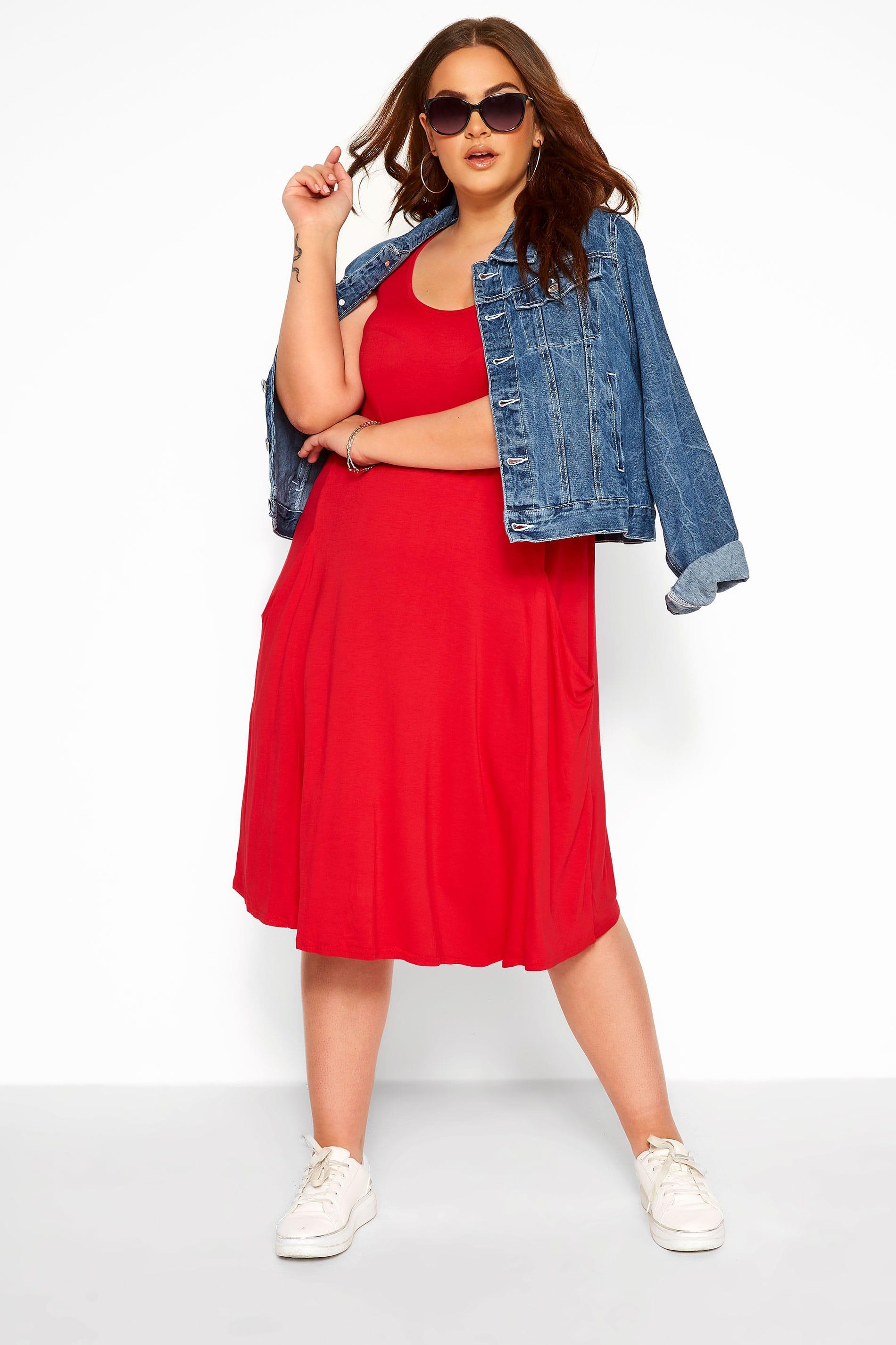 Red Sleeveless Drape Pocket Dress