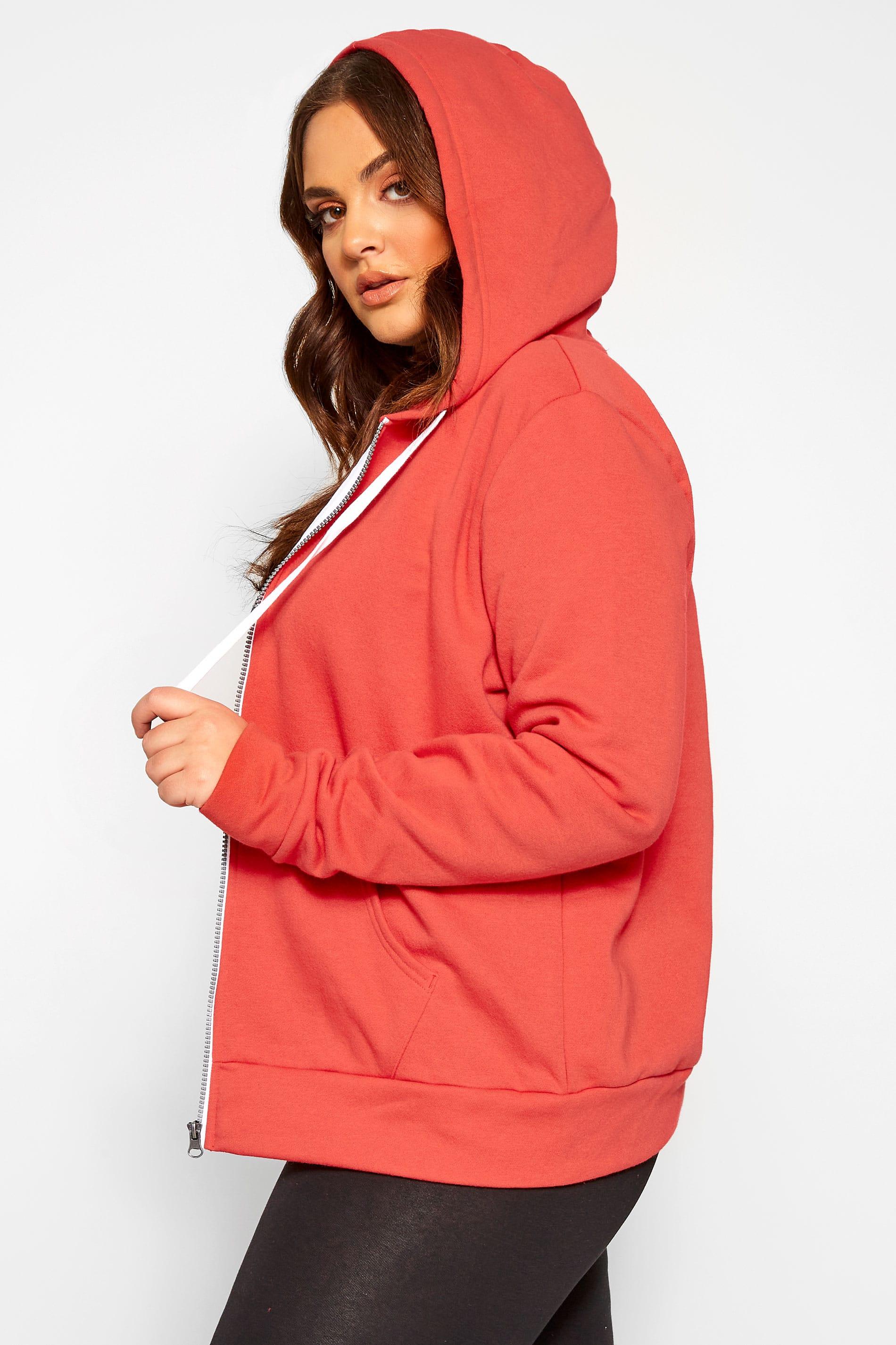 Red Zip Through Hoodie