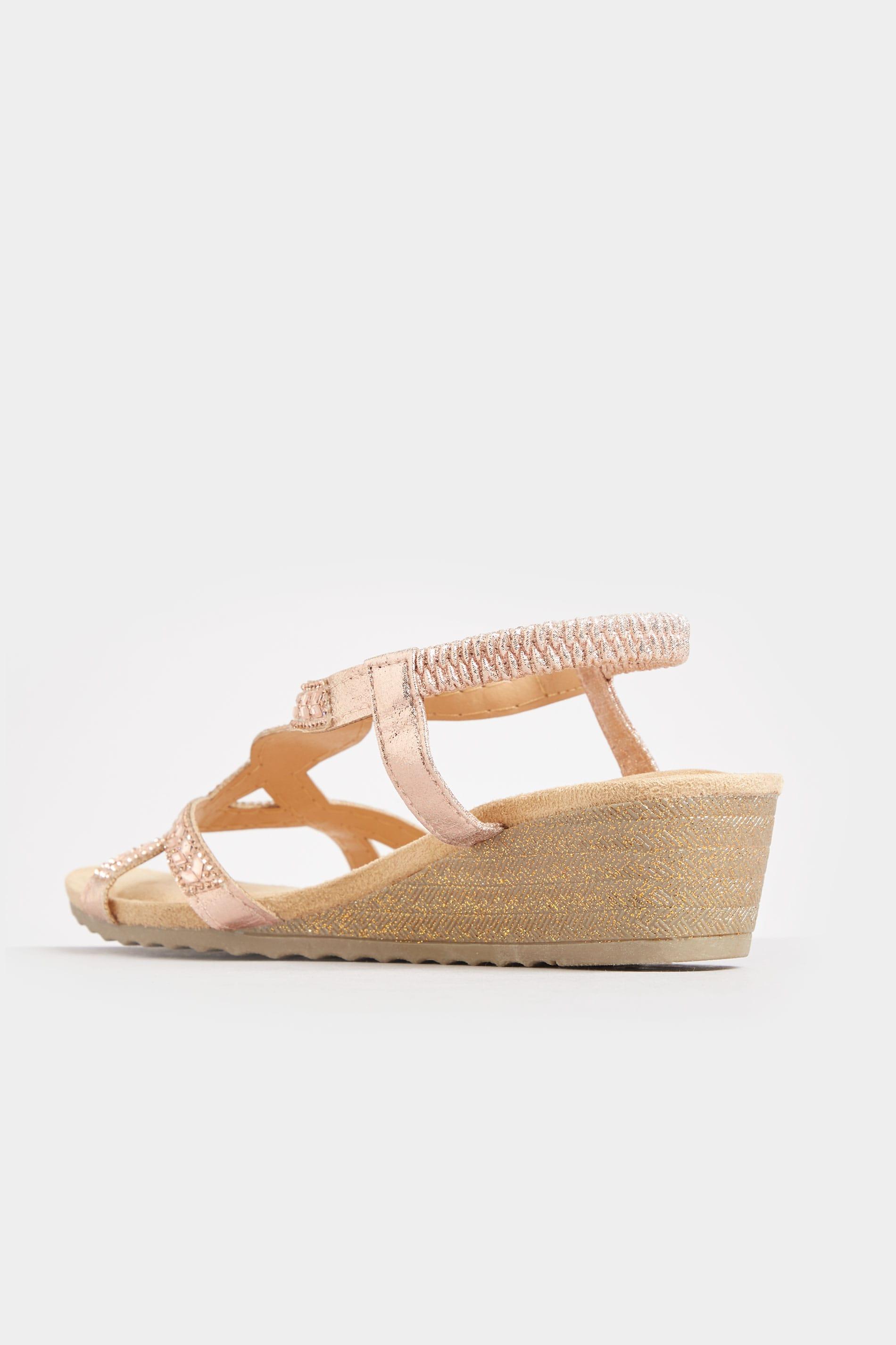 Rose Gold Diamante Twist Wedge Sandals