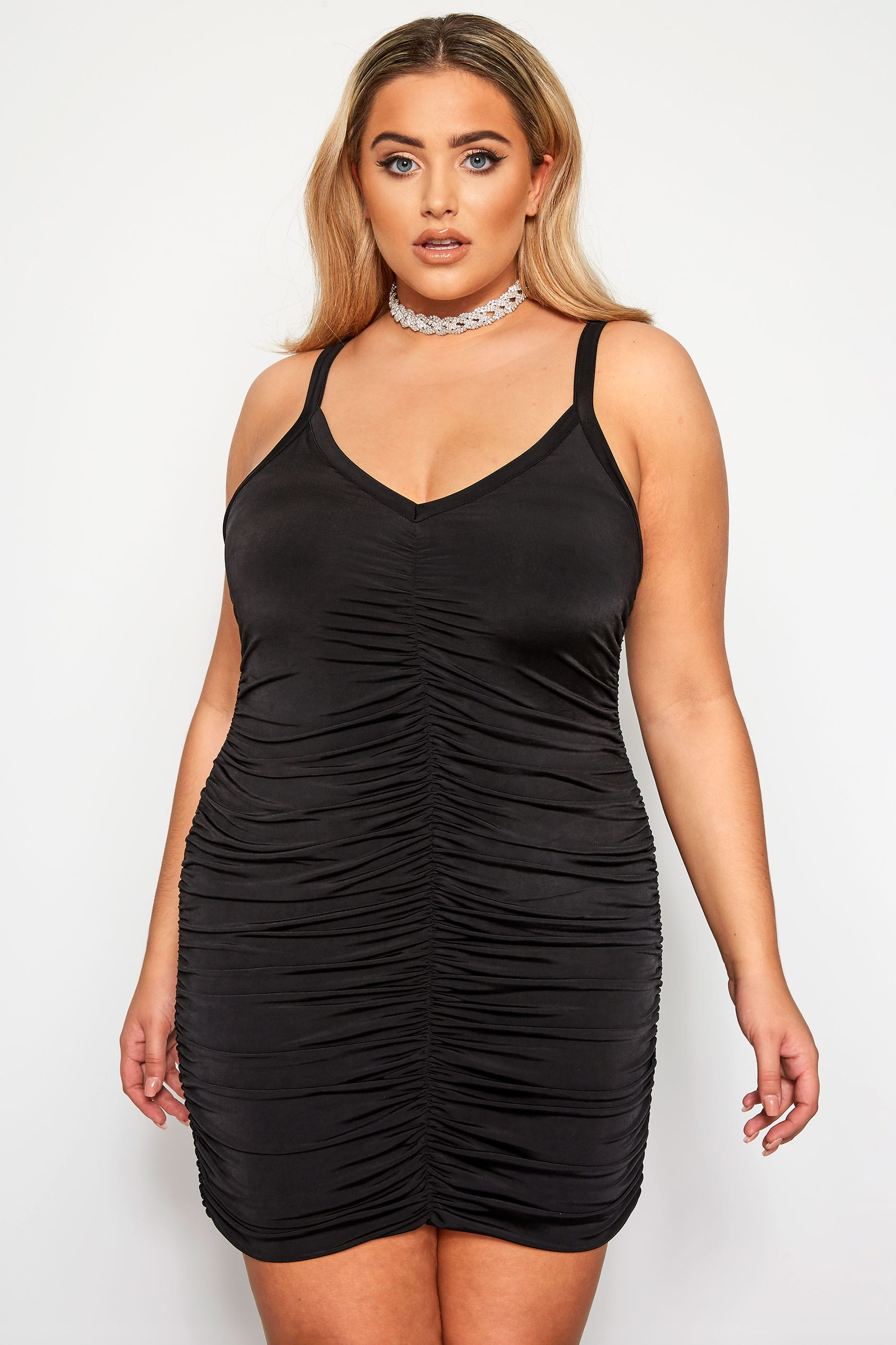 LIMITED COLLECTION Black Sleeveless Ruched Bodycon Dress