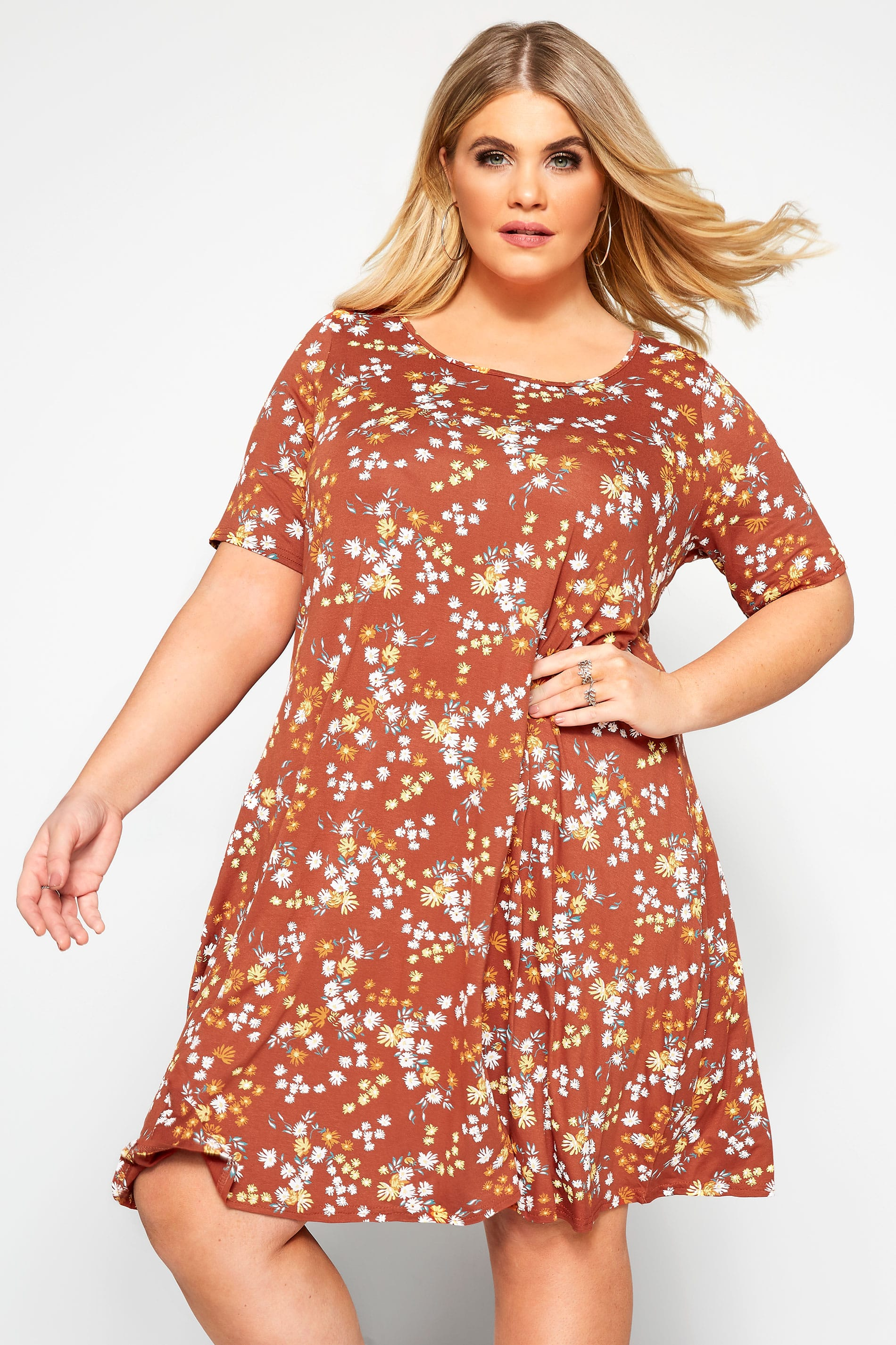 Rust Floral Pocket Swing Dress