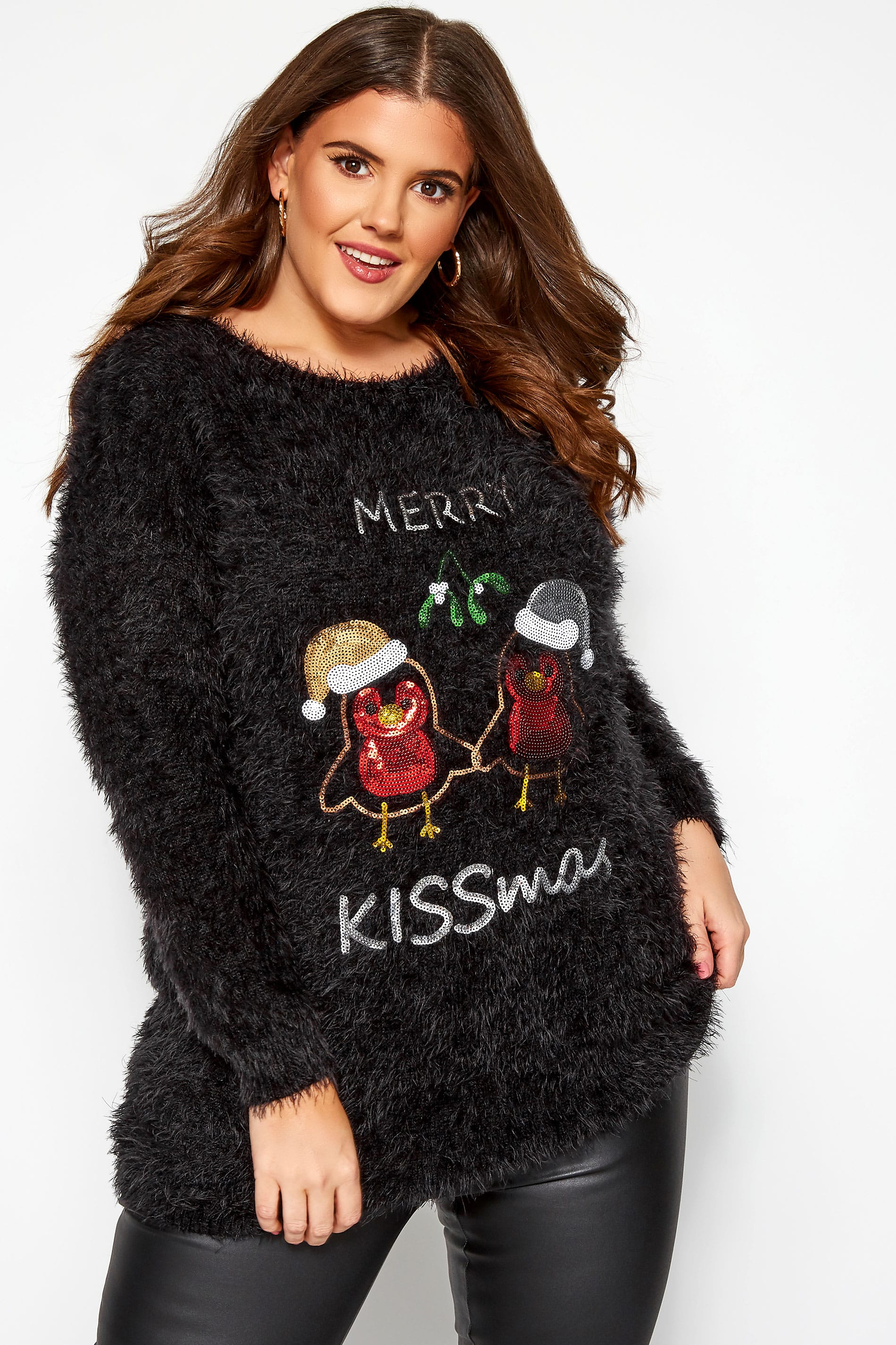 Black Sequin 'Merry Kissmas' Christmas Jumper