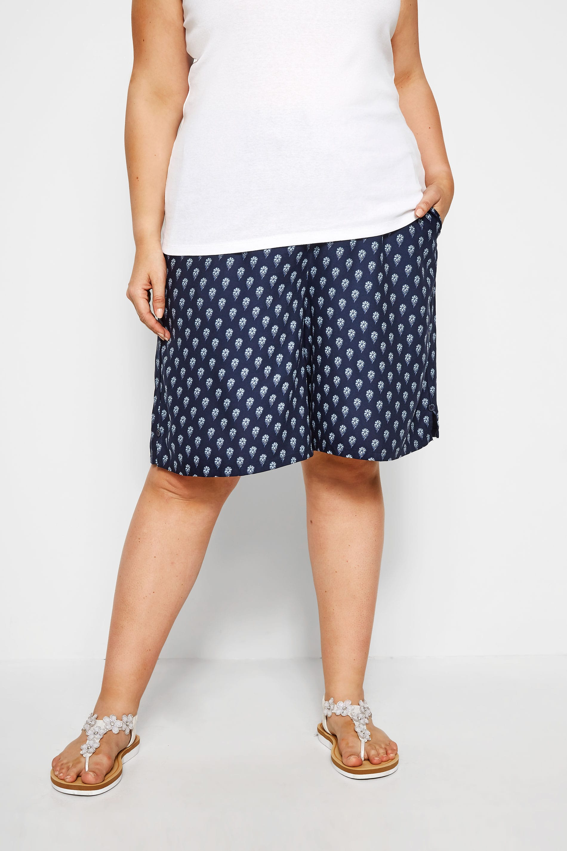 Navy Floral Tie Front Shorts