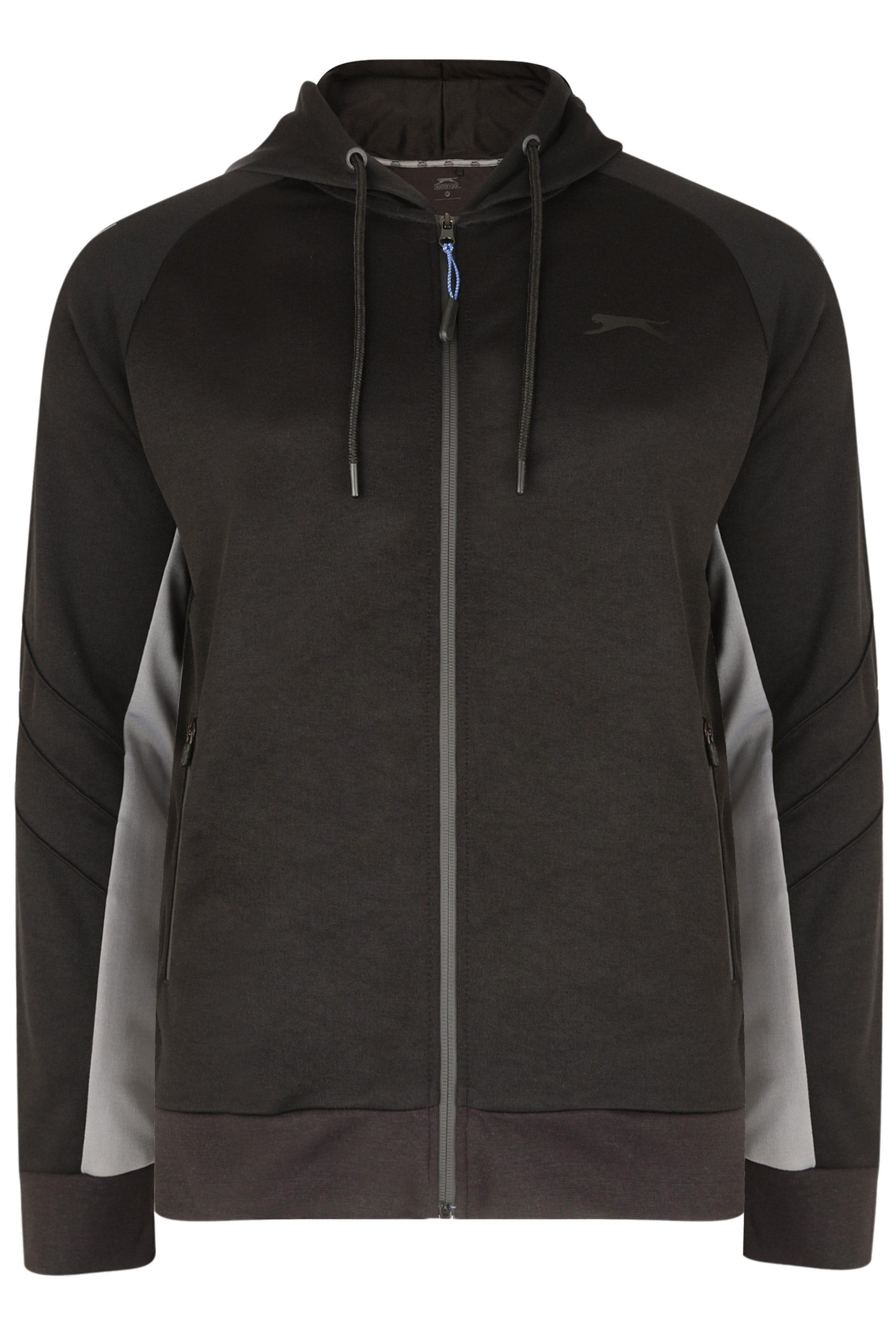 SLAZENGER Black & Grey Zip Through Hoodie
