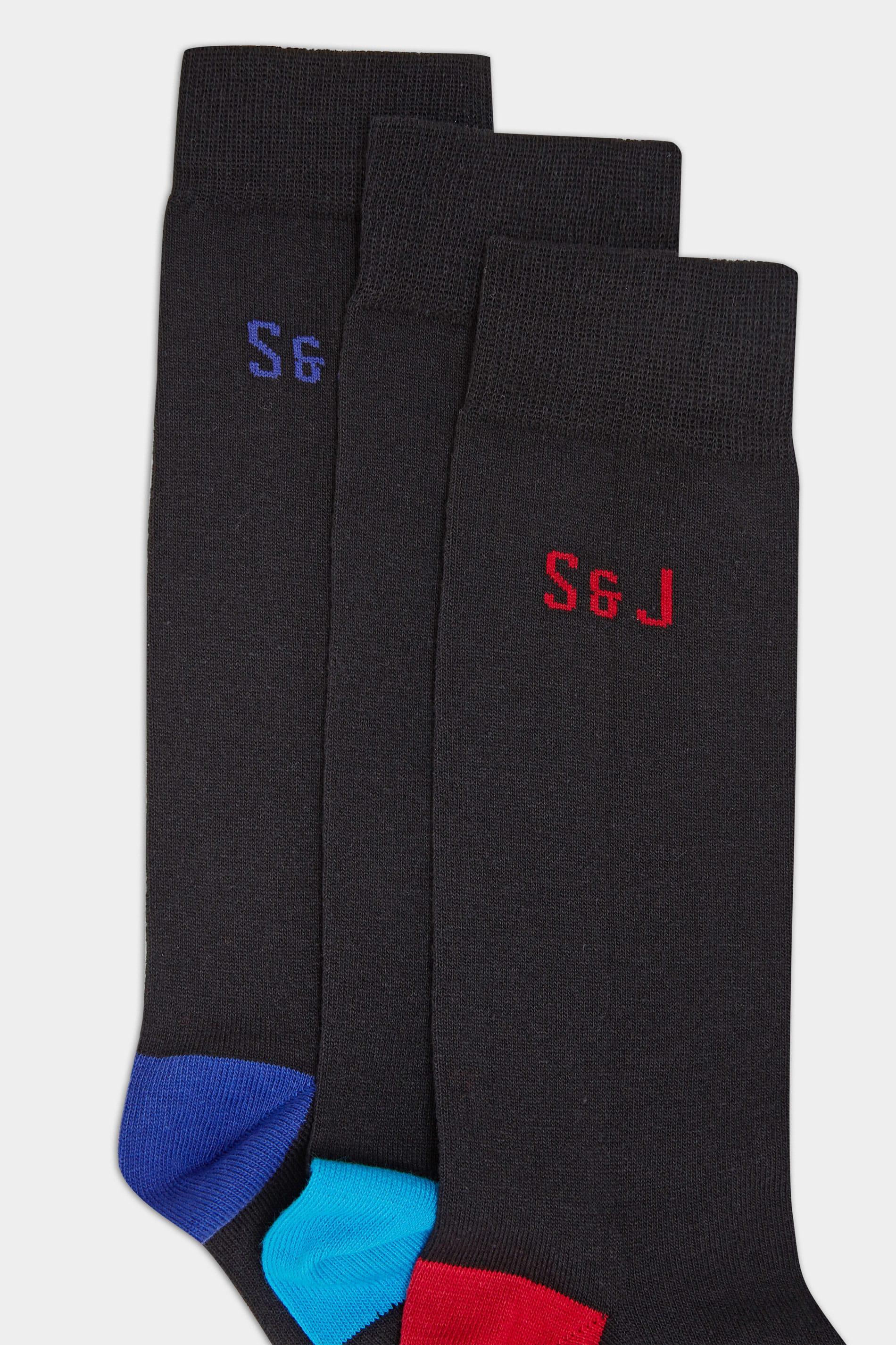 SMITH & JONES 3 PACK Black Branded Socks