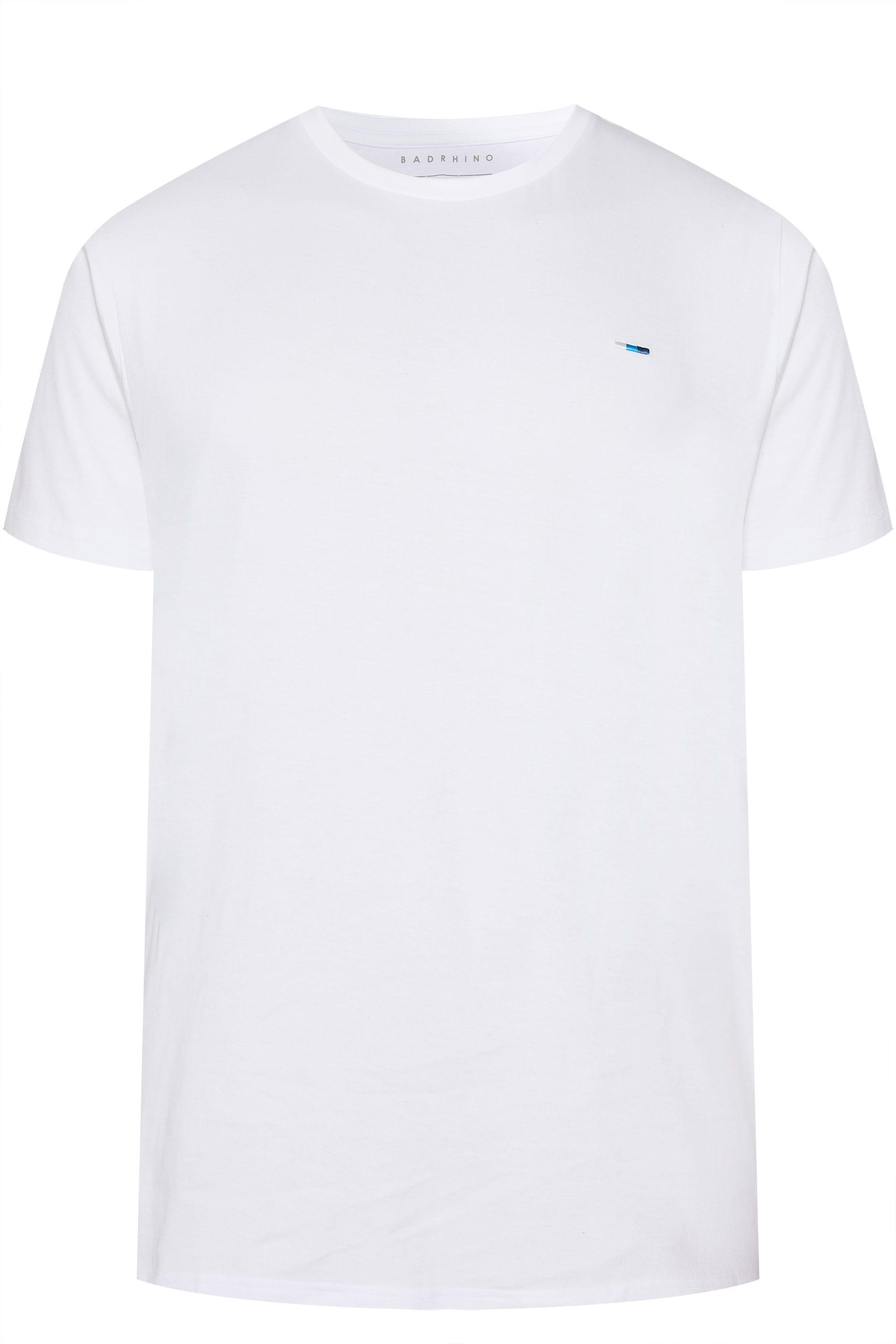 BadRhino Plain White Crew Neck T-Shirt