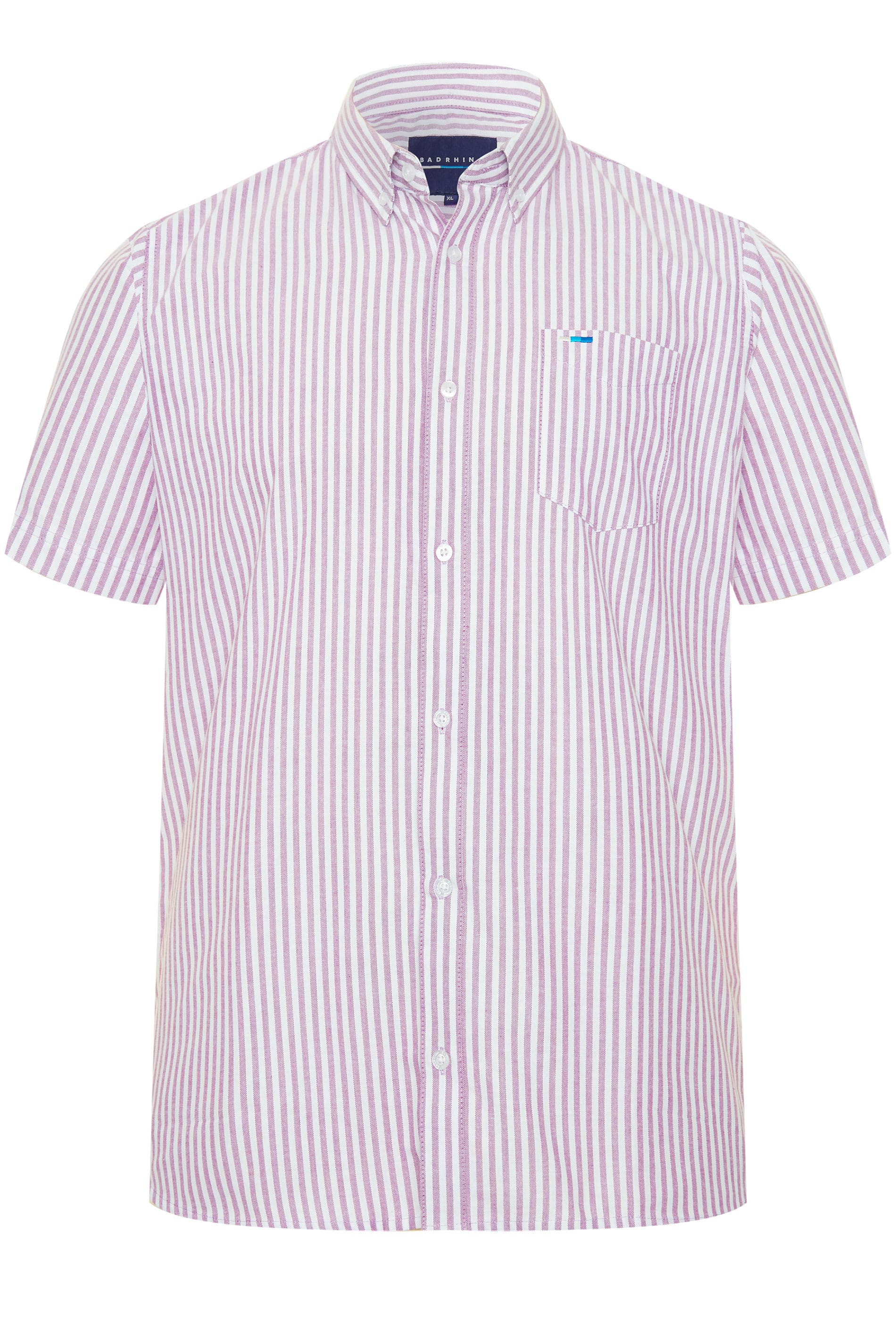 BadRhino Lilac Striped Short Sleeved Oxford Shirt_ffa6.jpg