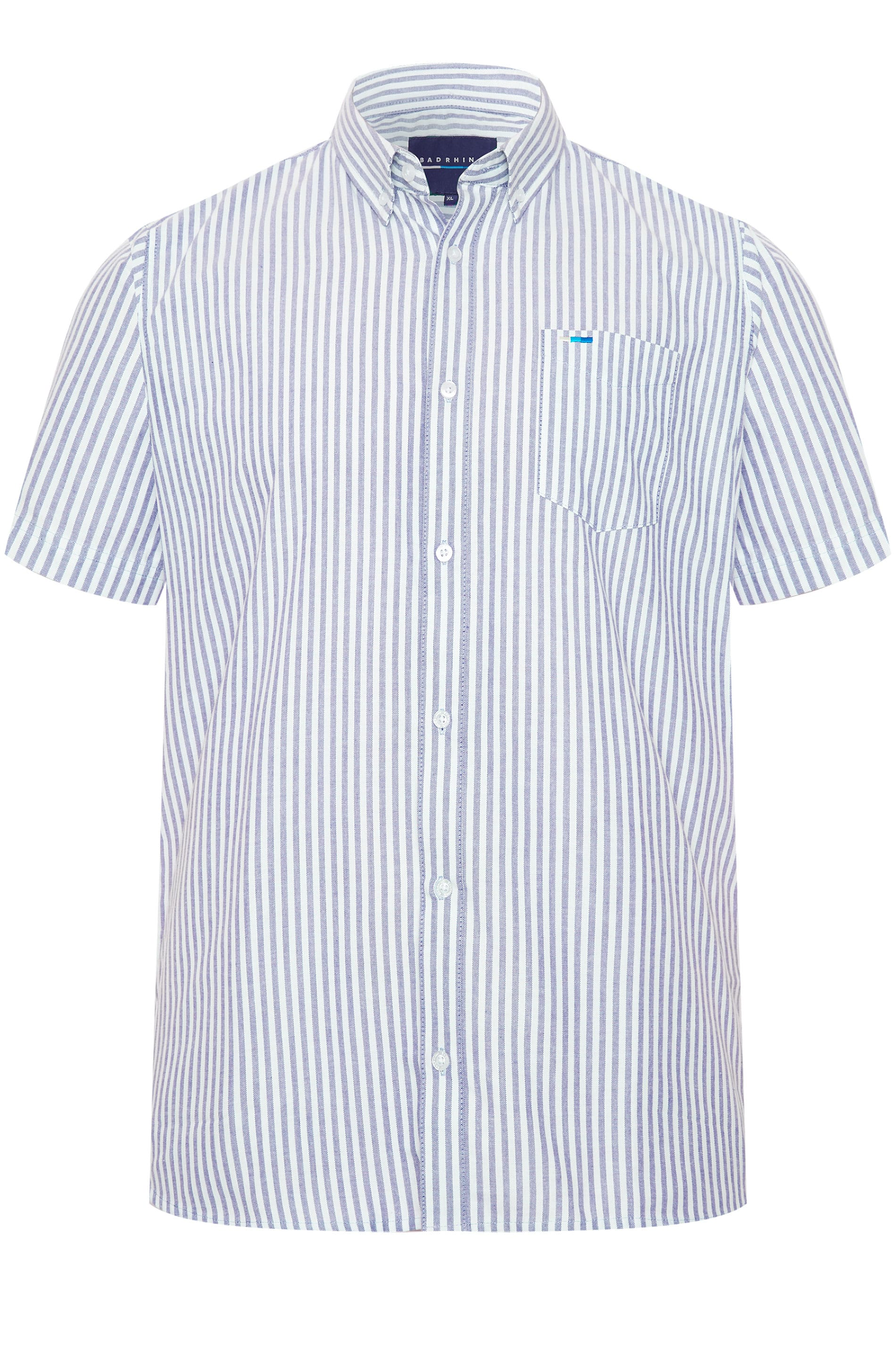 BadRhino Blue Striped Short Sleeved Oxford Shirt_fb1d.jpg