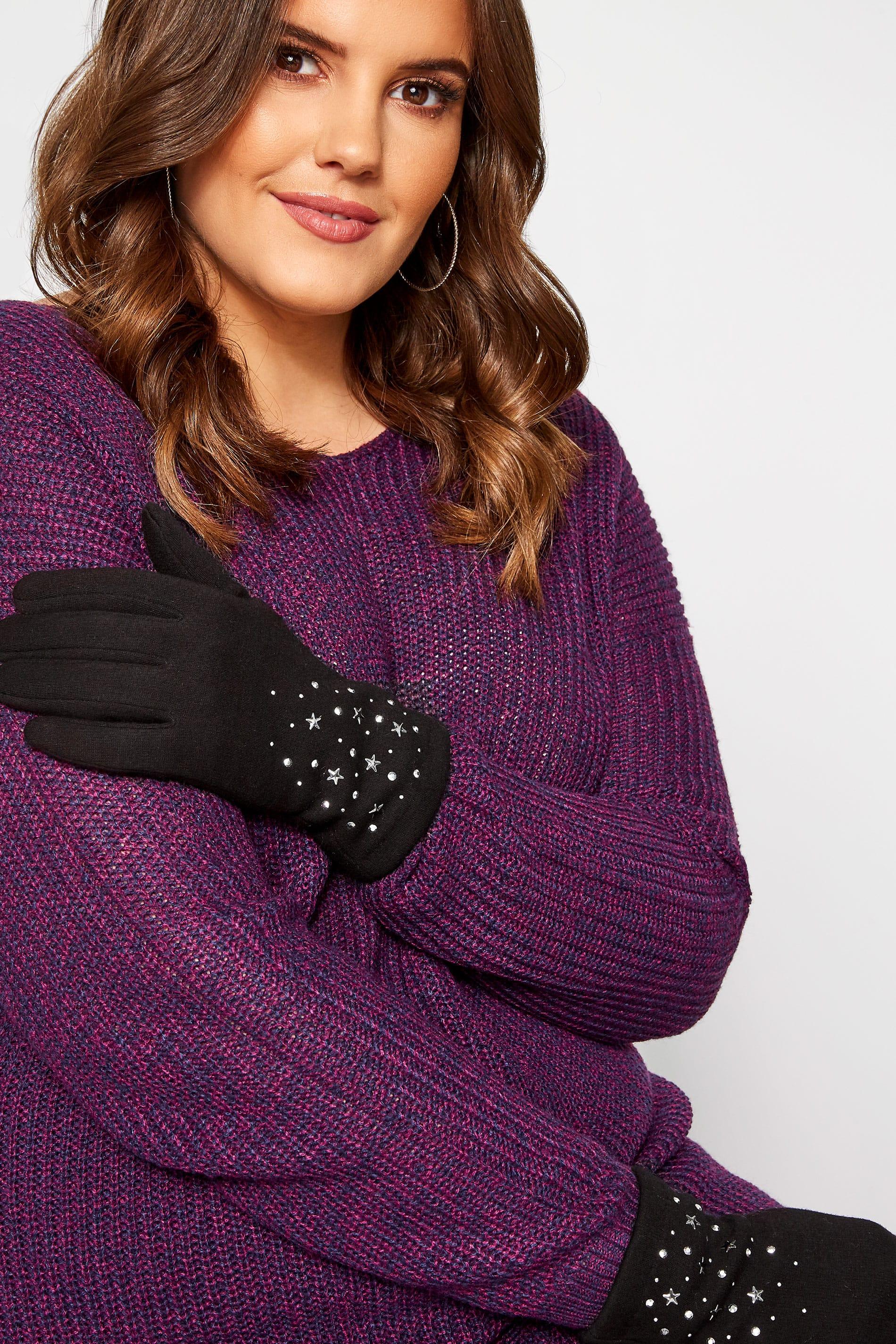 Black Star Embellished Gloves