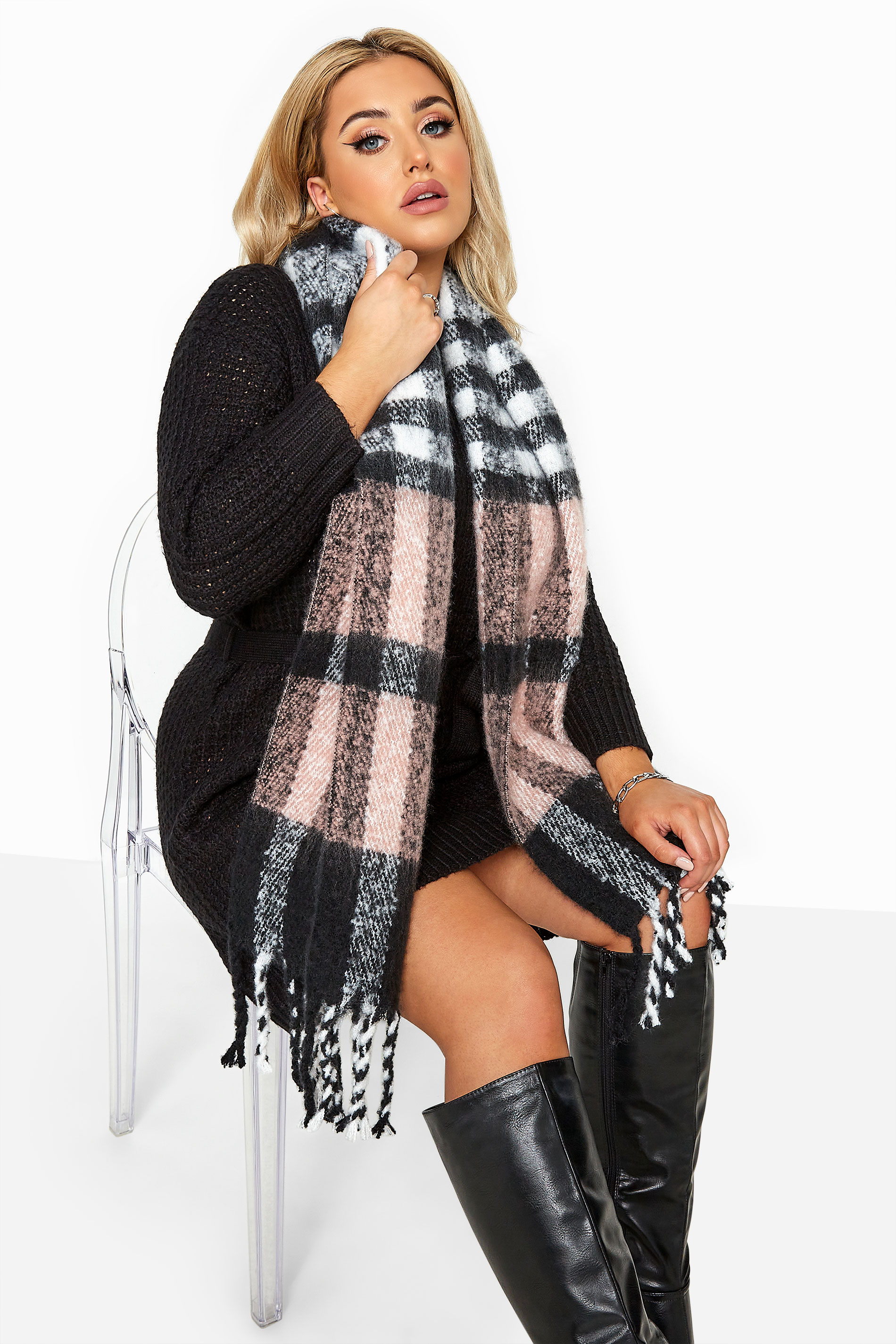 Yours Pink & Grey Super Soft Check Scarf