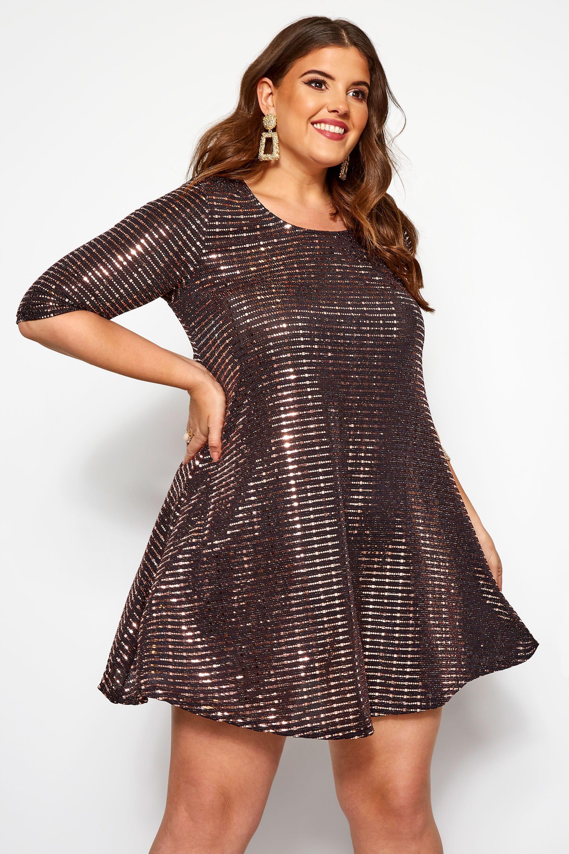 Bronze Sparkle Embellished Swing Dress