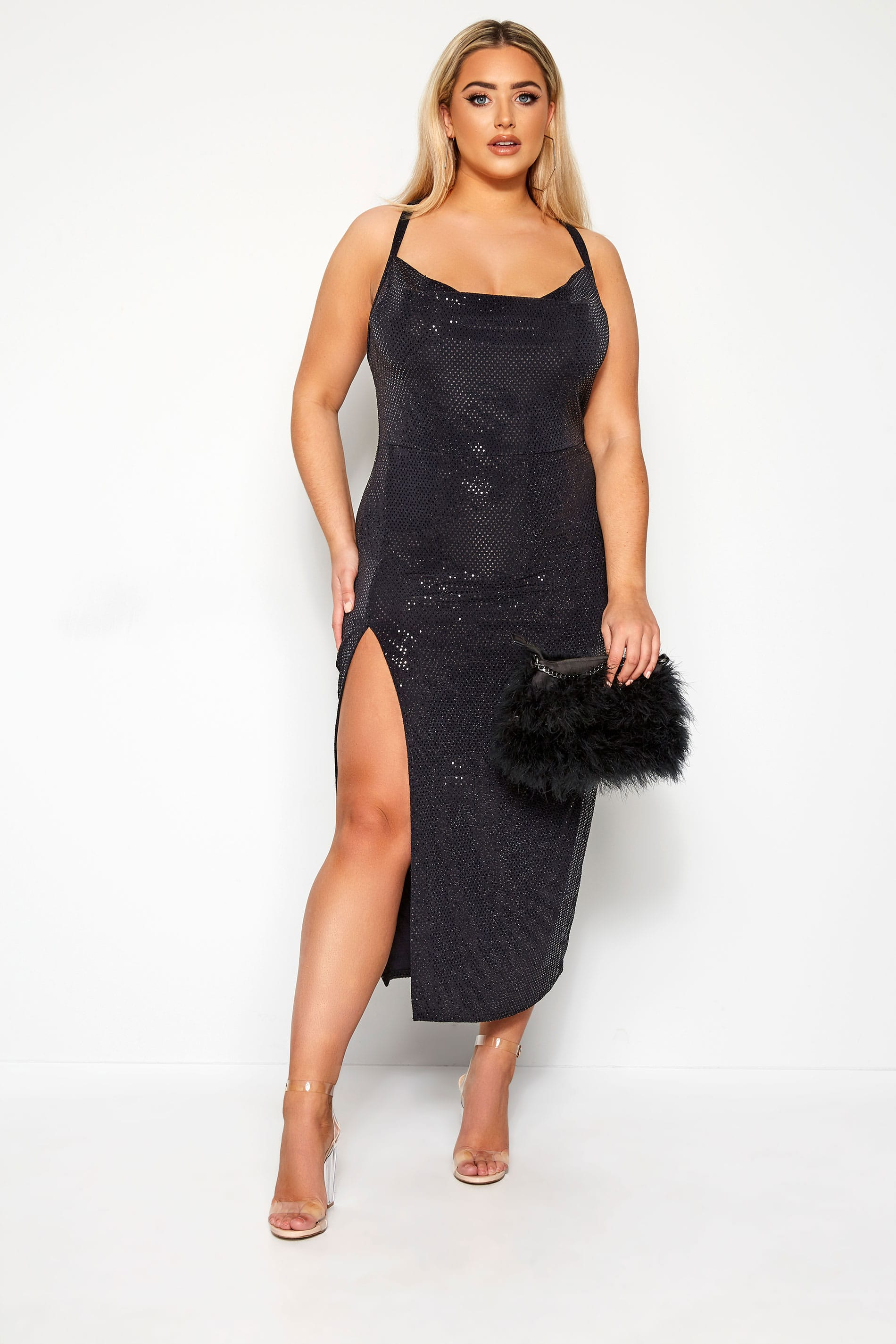 LIMITED COLLECTION Black Sequin Cowl Neck Maxi Dress