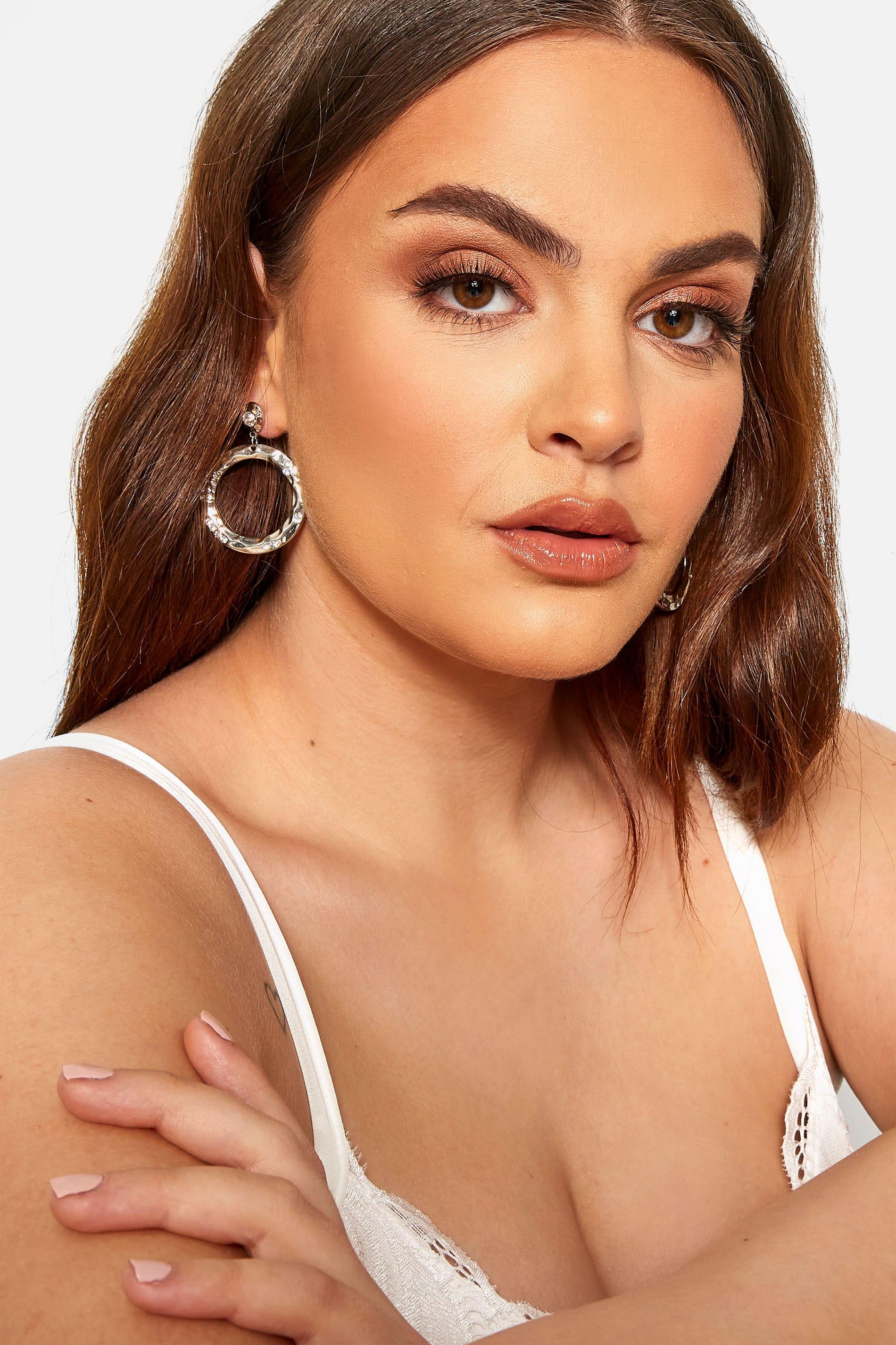 Silver Circle Diamante Drop Earrings
