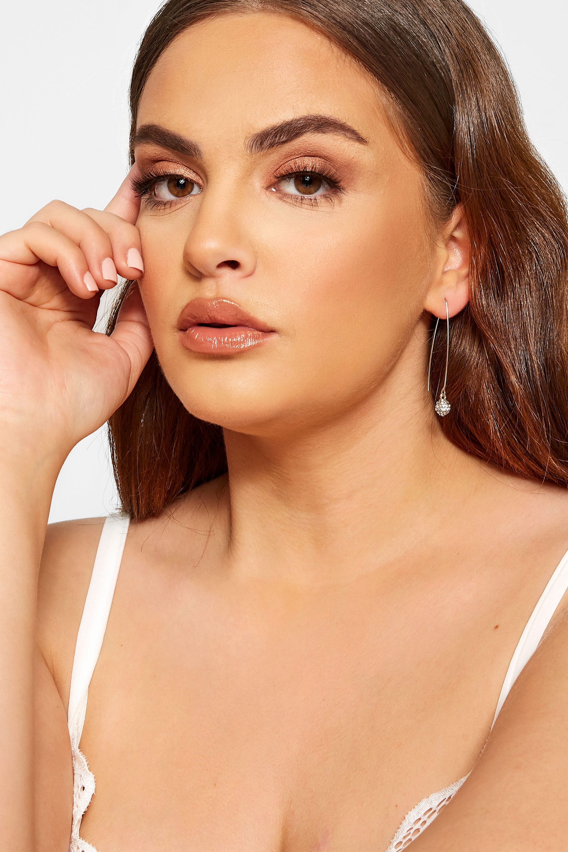 Silver Diamante Ball Drop Earrings