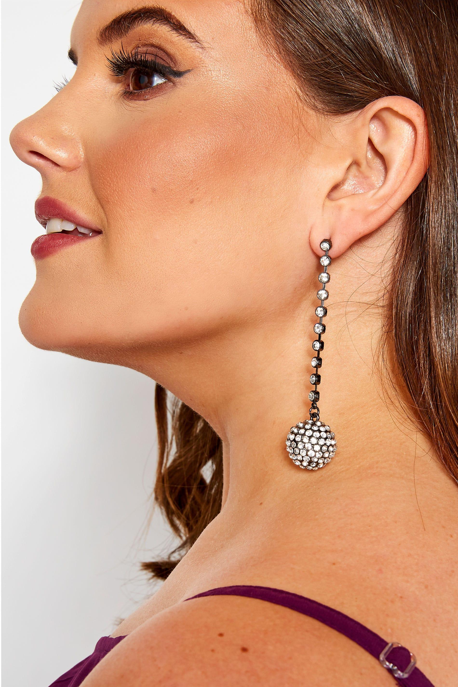 Silver Diamante Beaded Drop Earrings