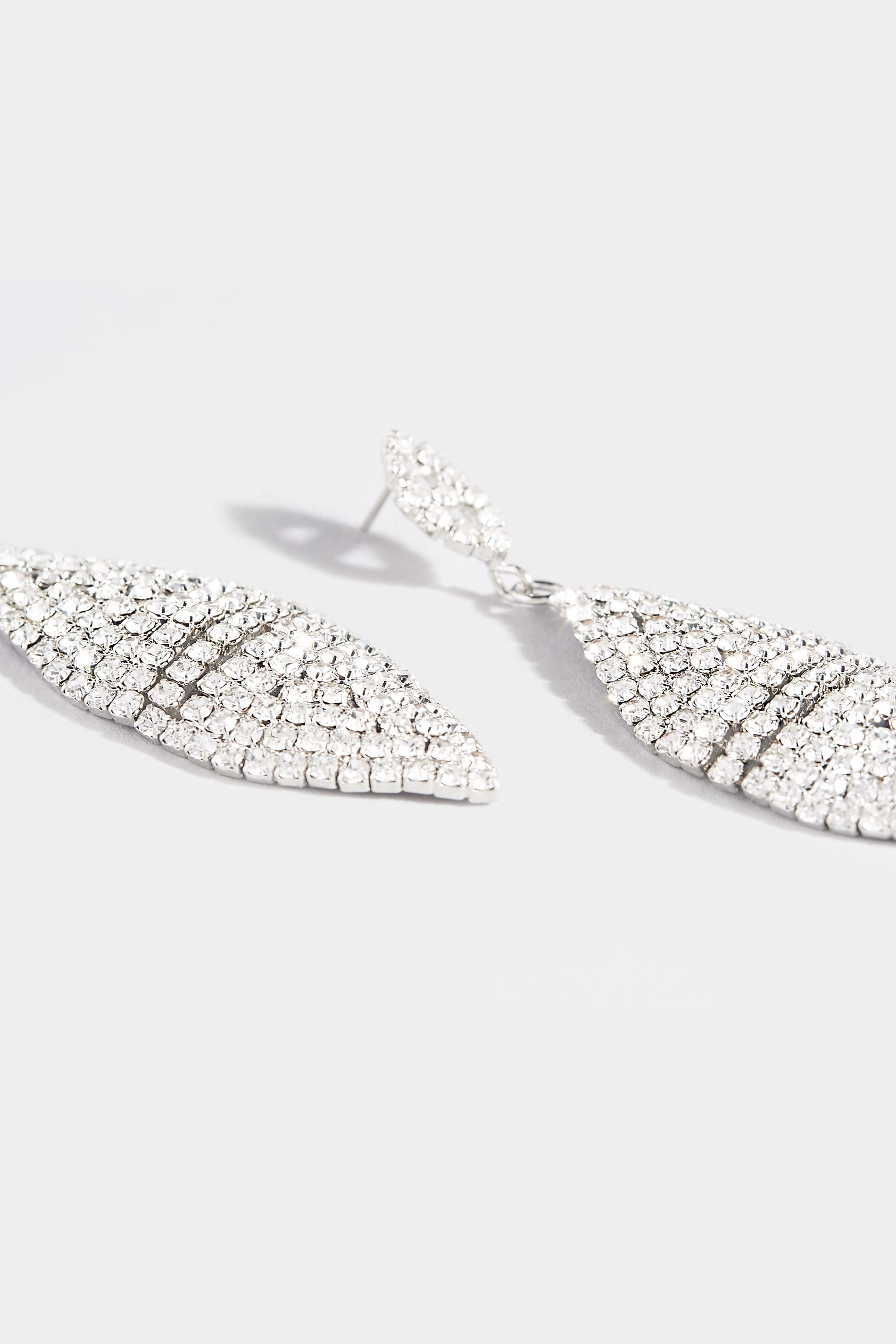 Silver Diamante Leaf Shaped Drop Earrings | Yours Clothing