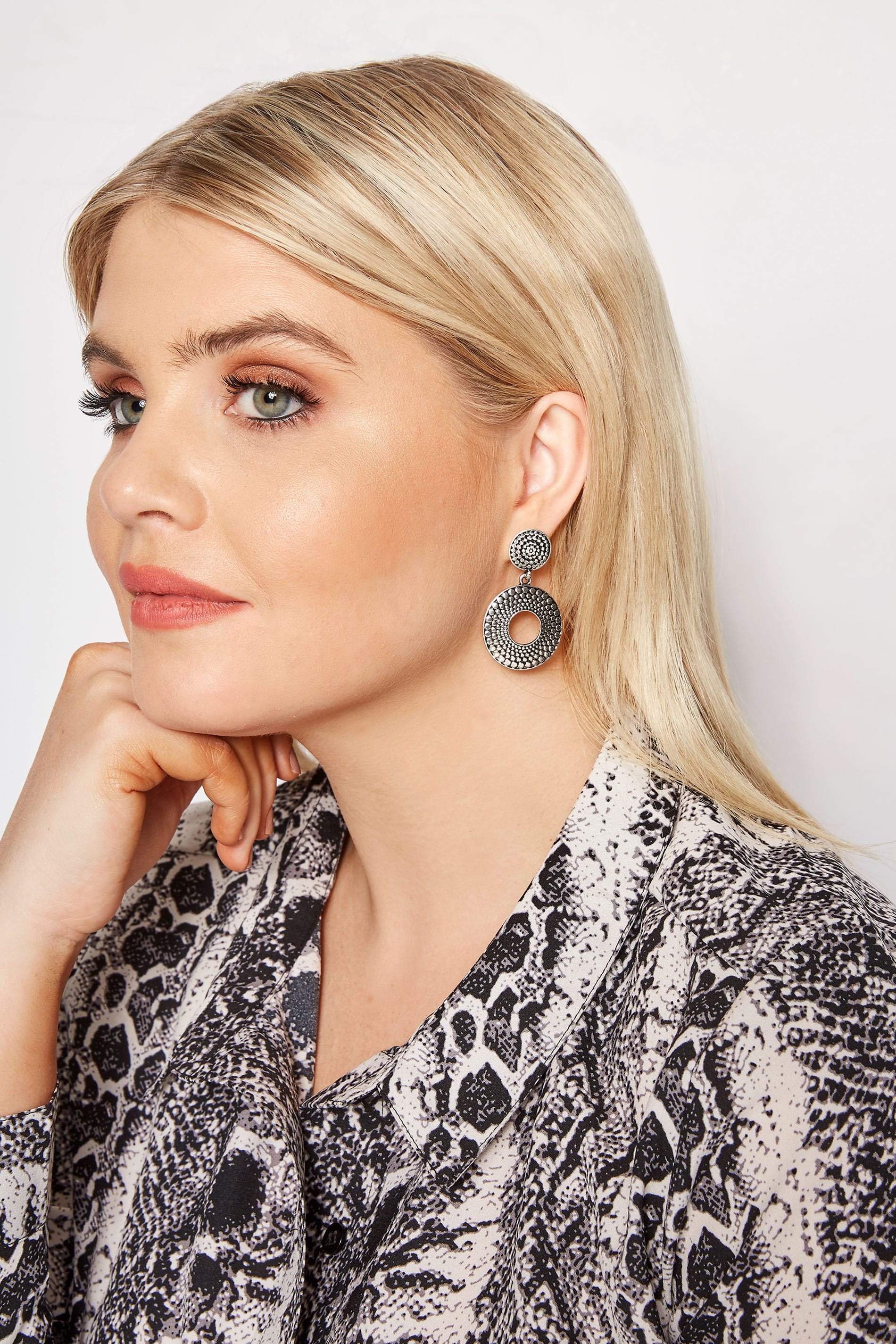 Silver Double Disc Textured Drop Earrings