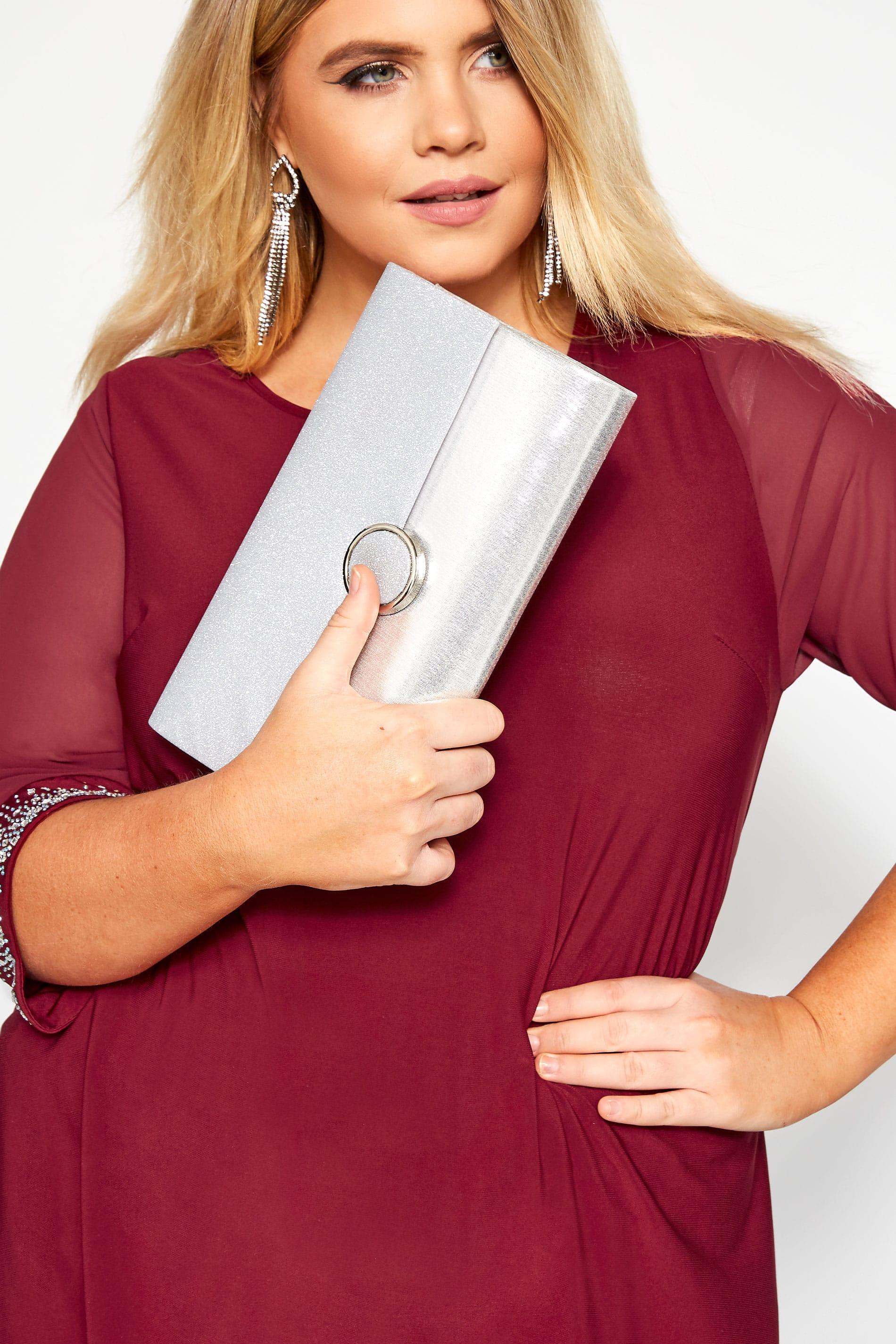 Silver Glitter Clutch Bag