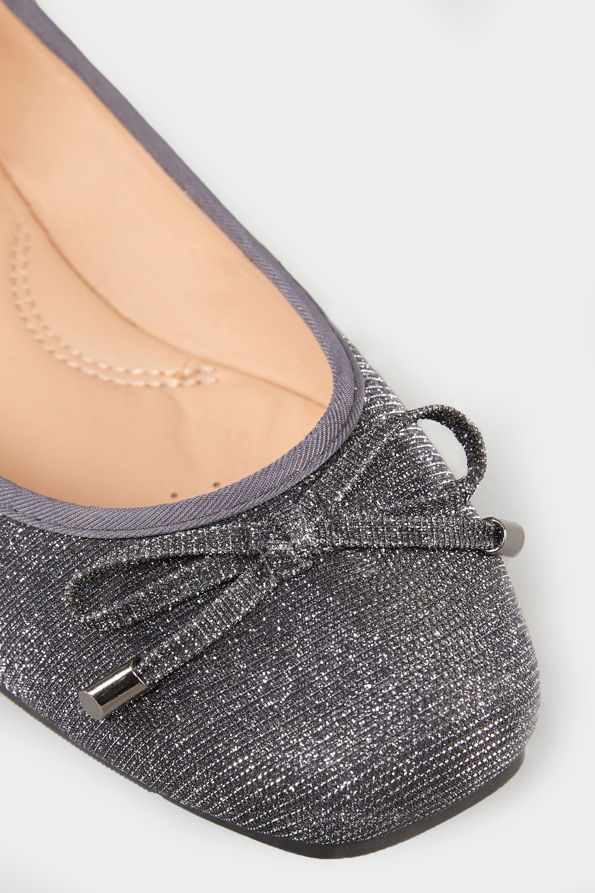 buy popular d79fb 97207 Silver Shimmer Ballerina Pumps In Extra Wide Fit