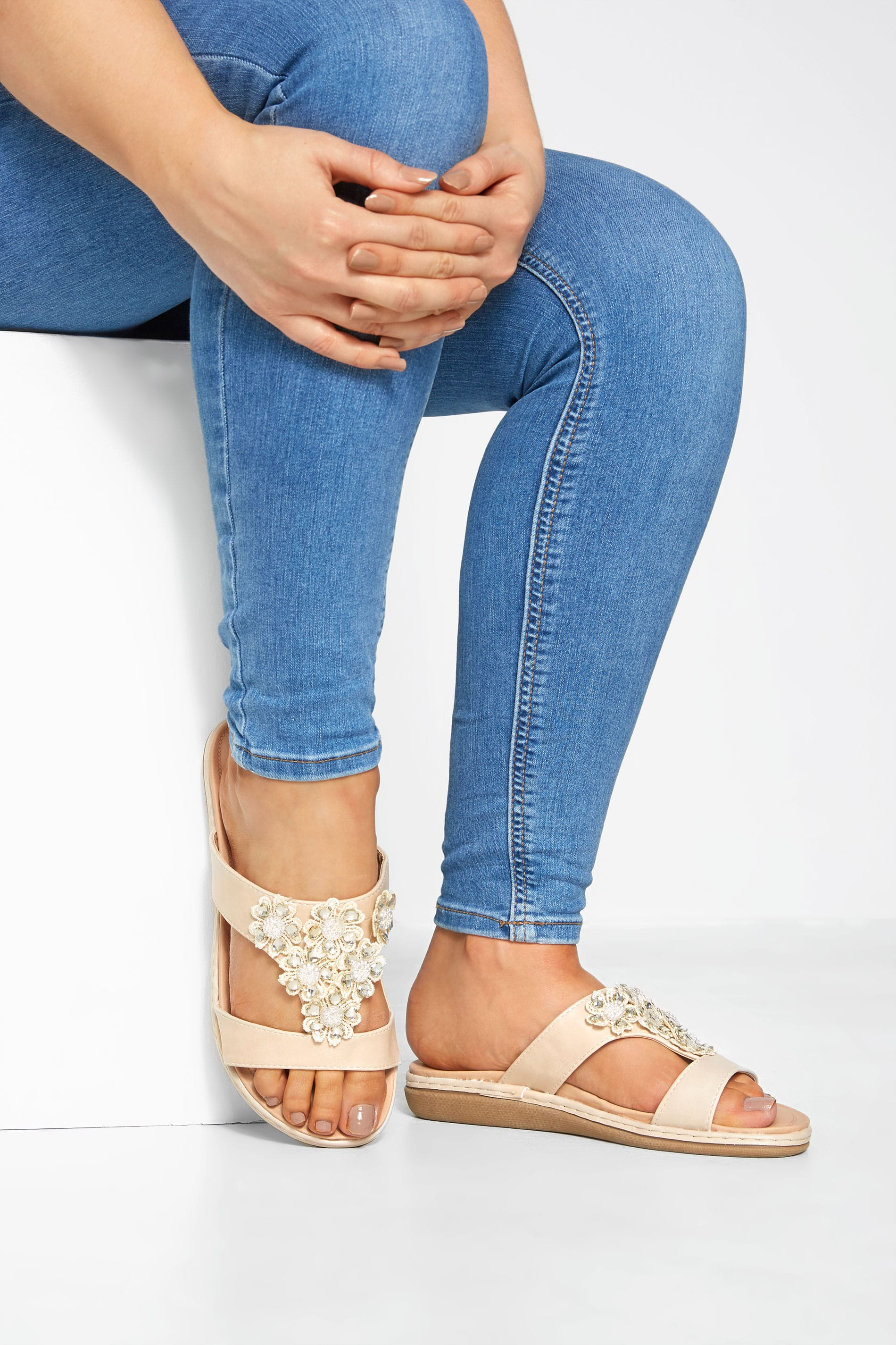 Stone Flower Diamante Mules In Extra Wide Fit