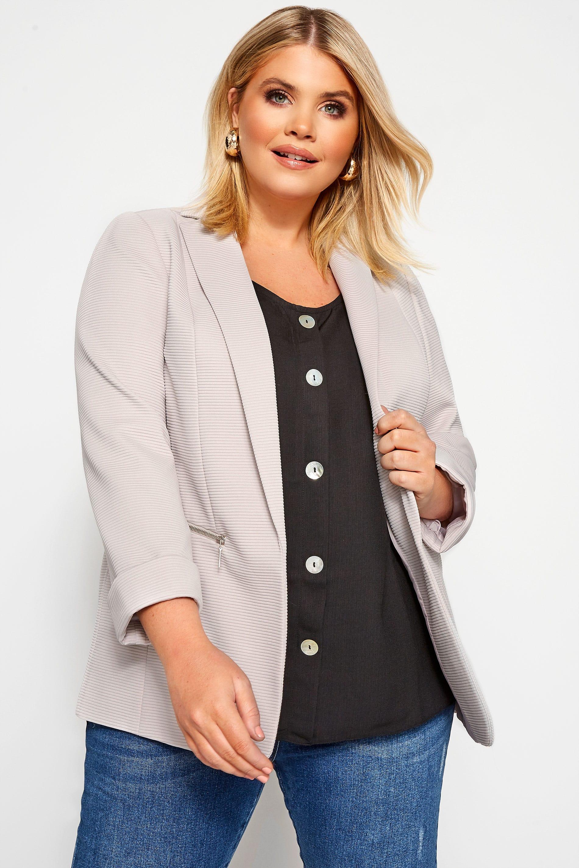 Stone Ribbed Zip Pocket Blazer Jacket