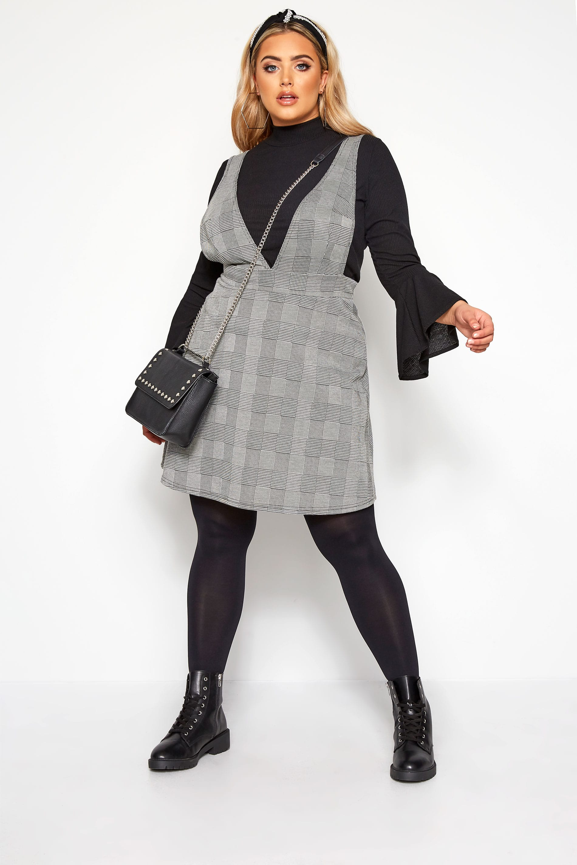 LIMITED COLLECTION Grey Check Pinafore Dress
