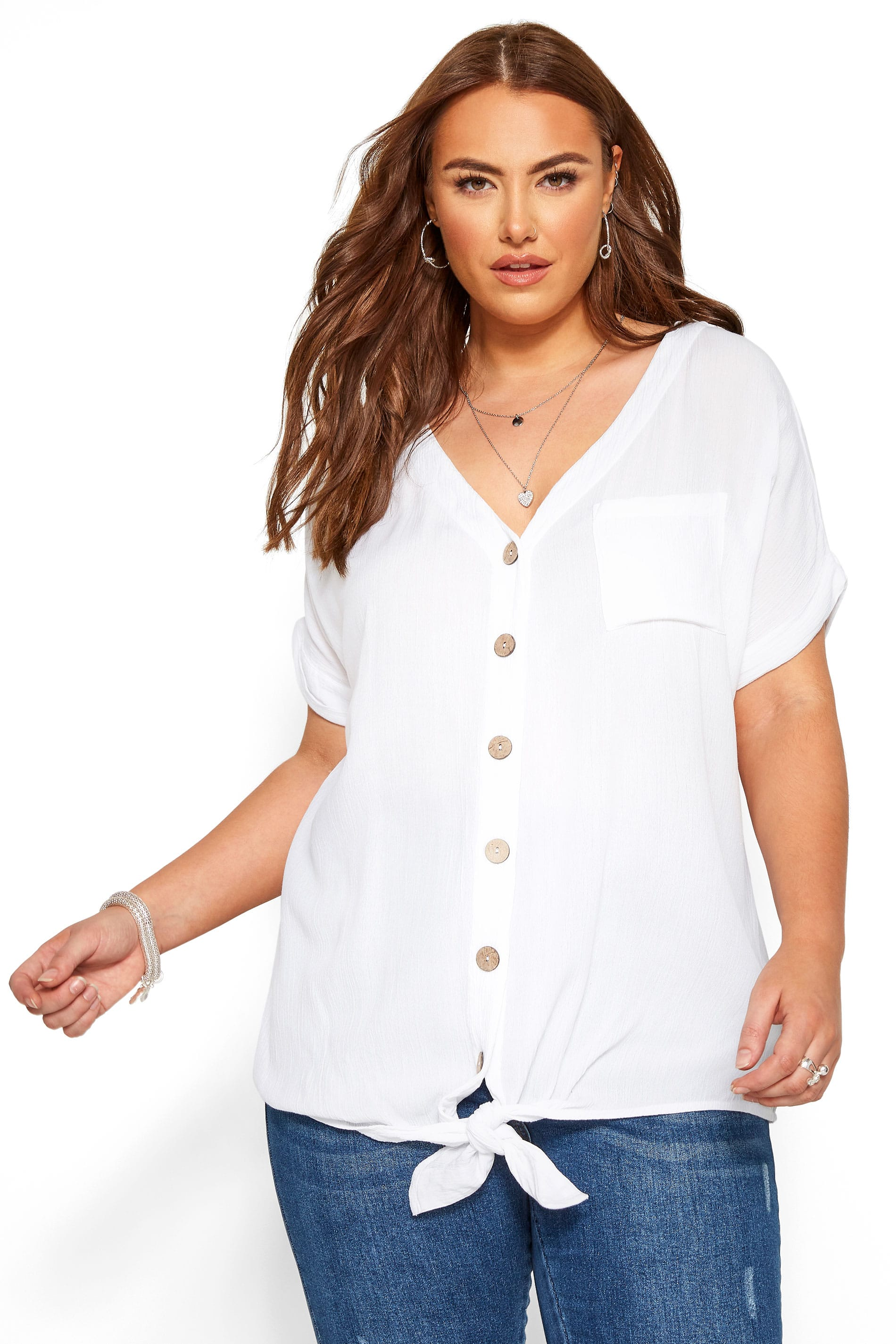 White Button Front Tie Top