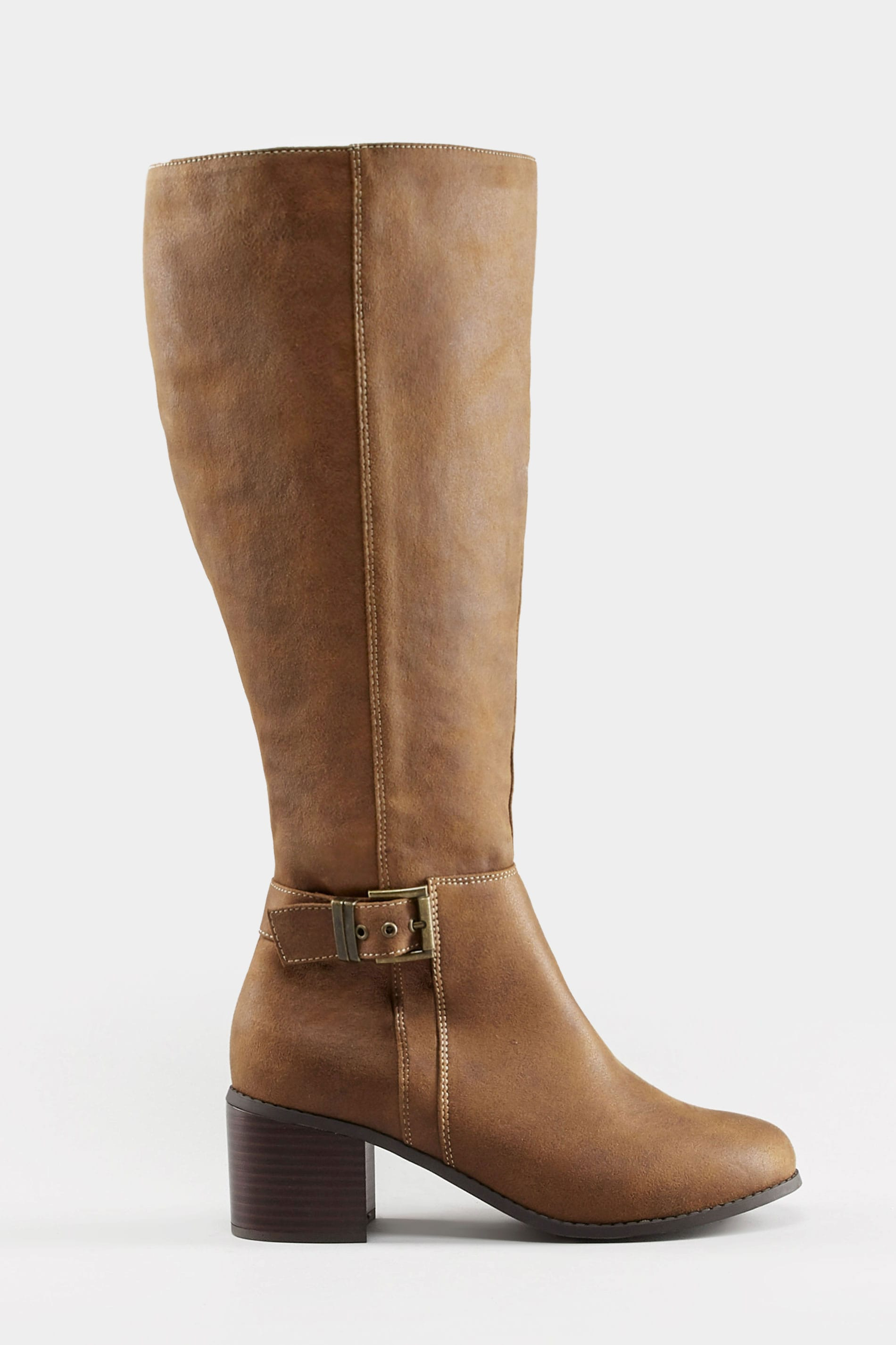 large discount quality sale Tan Knee High Buckle Heeled Boots In Extra Wide Fit   Yours Clothing