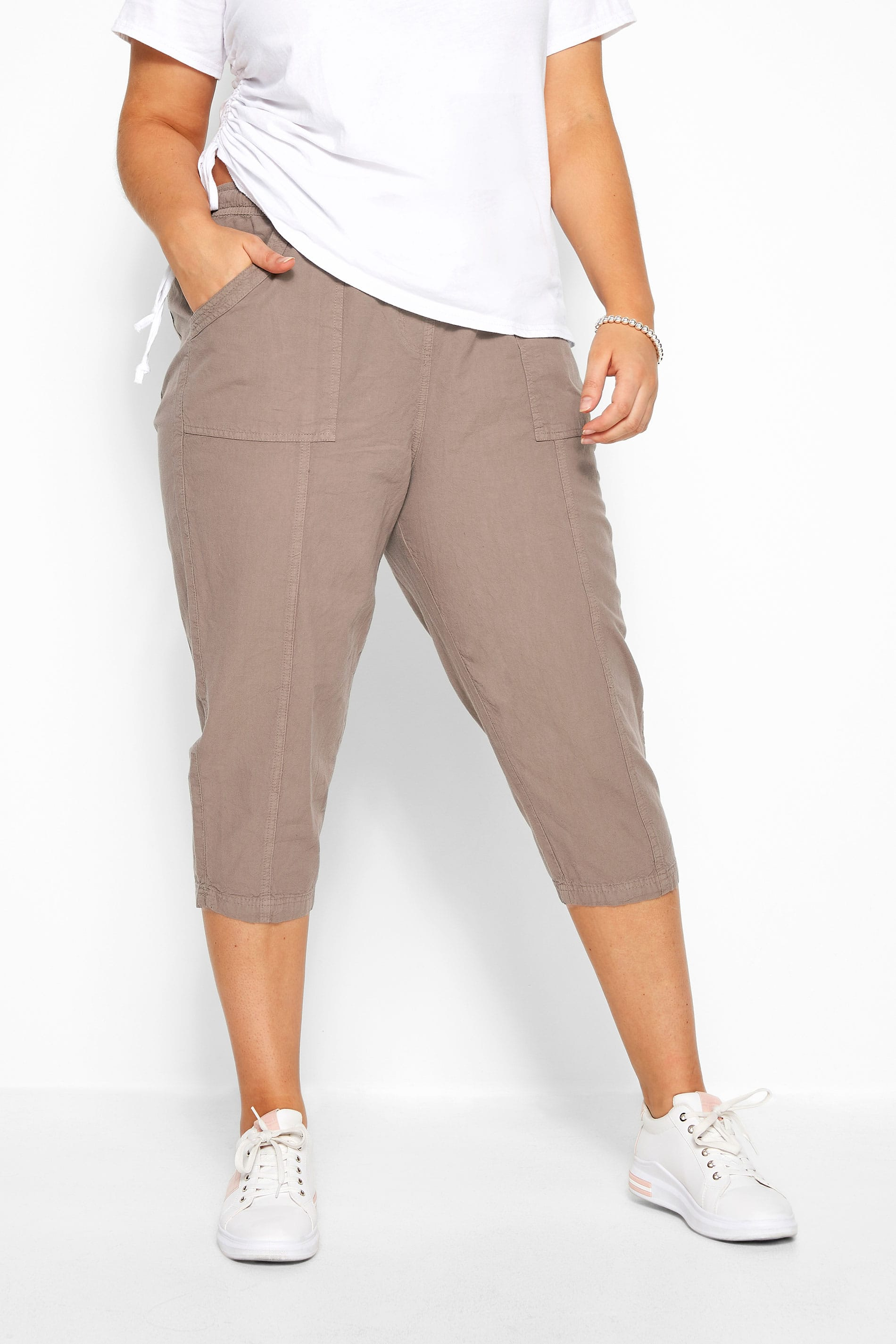 Taupe Cotton Cropped Trousers