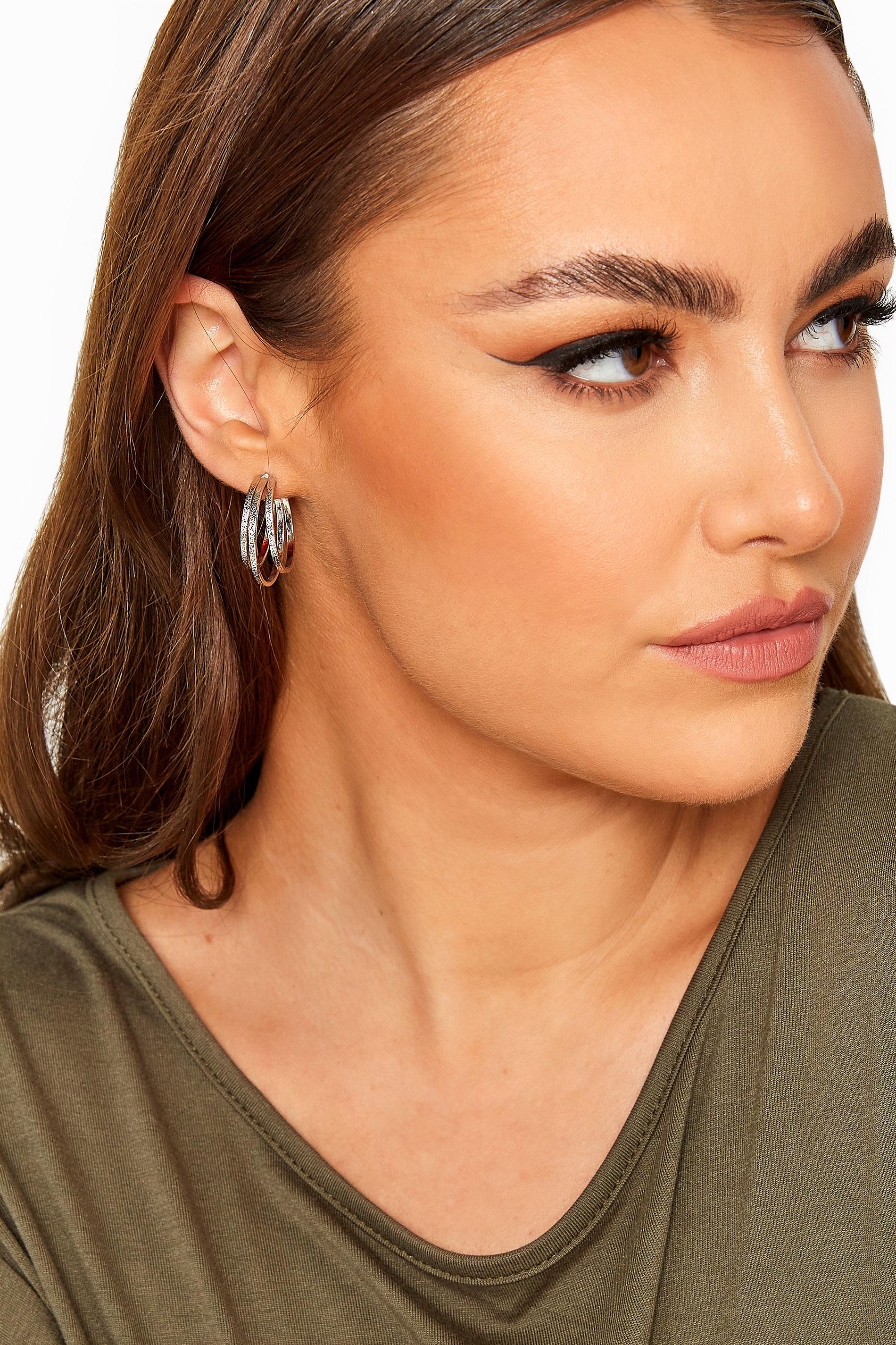 Yours Silver Textured Triple Hoop Earrings