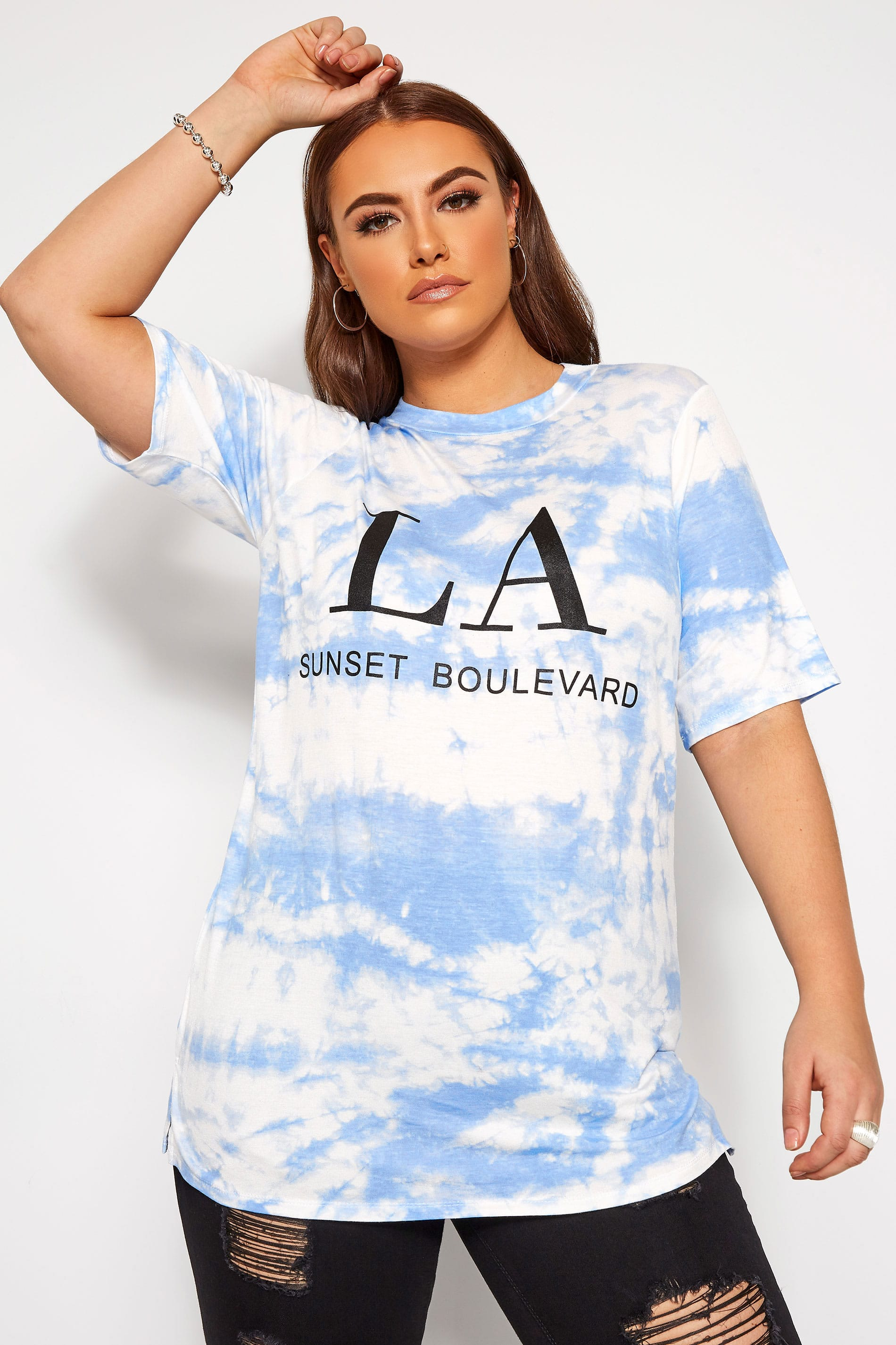 LIMITED COLLECTION Blue Tie Dye Slogan T-Shirt