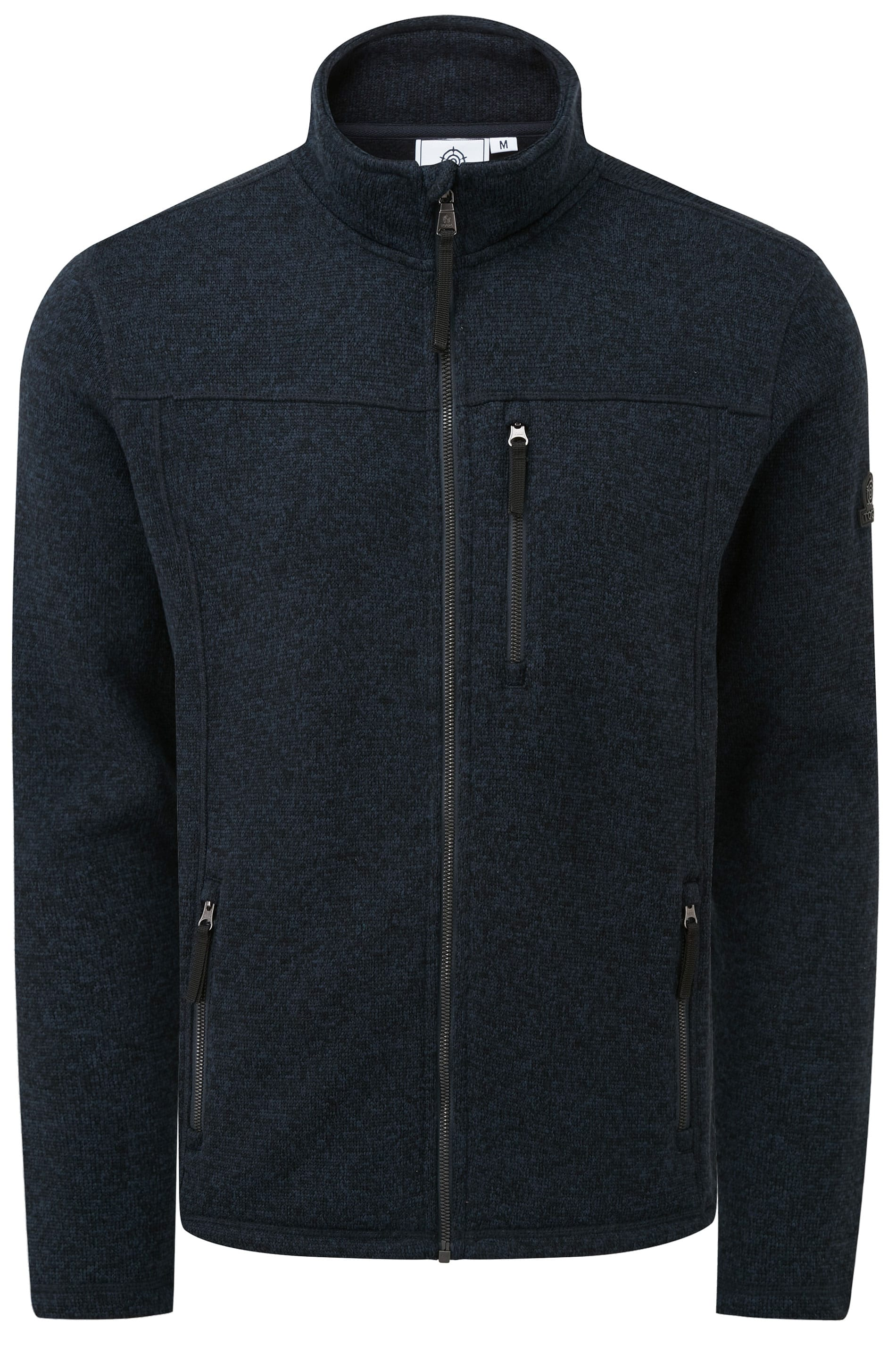 TOG24 Navy Zip Through Funnel Neck Fleece