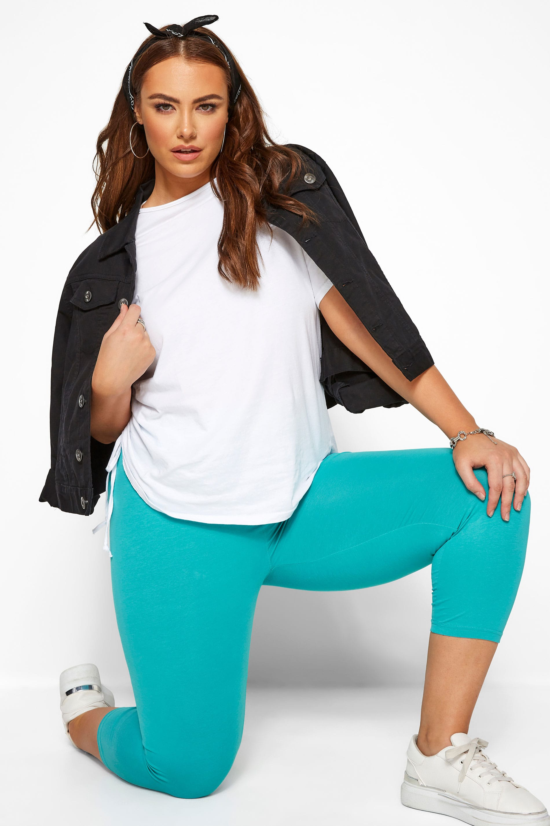 Turquoise Cropped Leggings