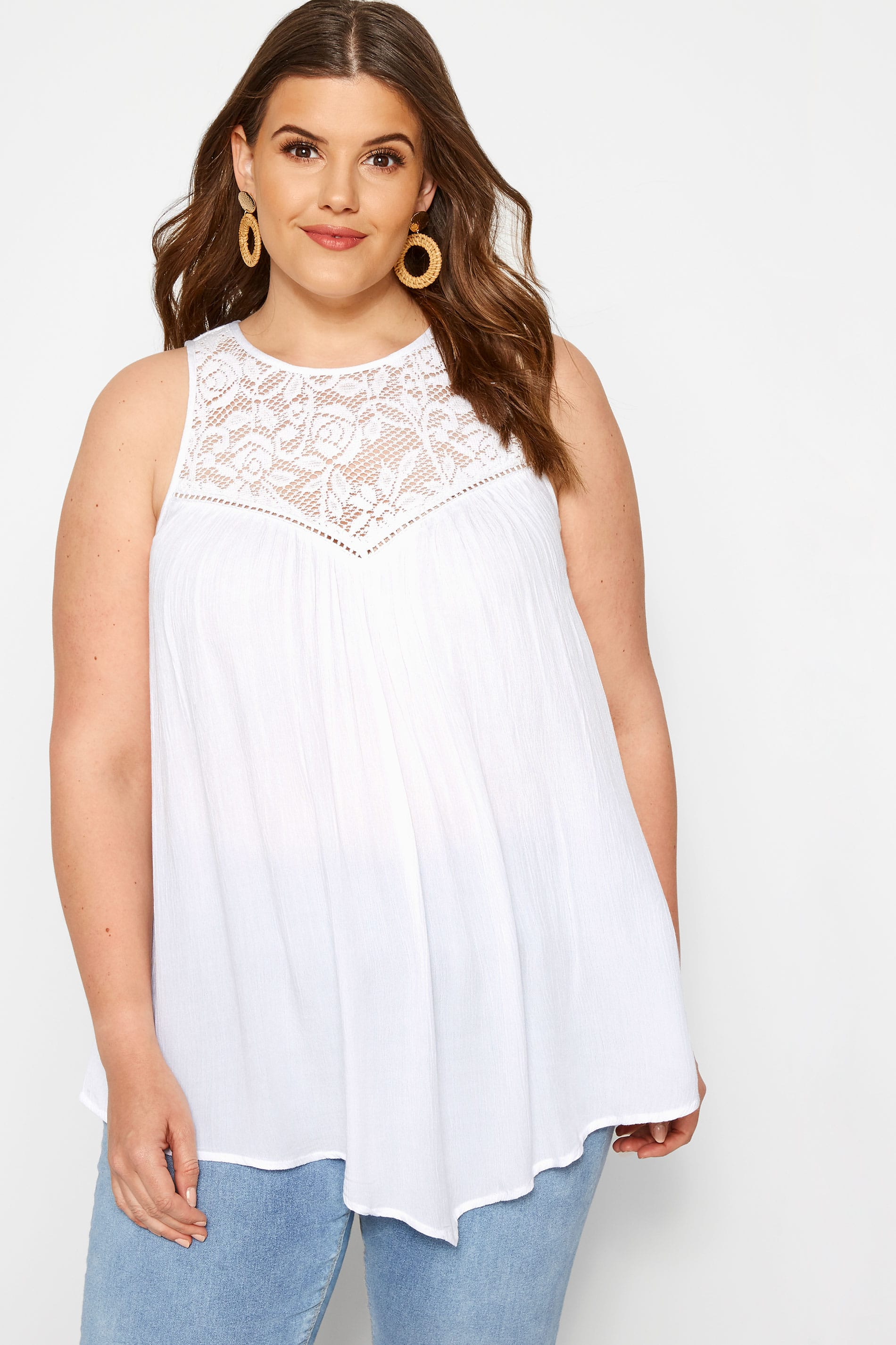 White Lace Vest Top