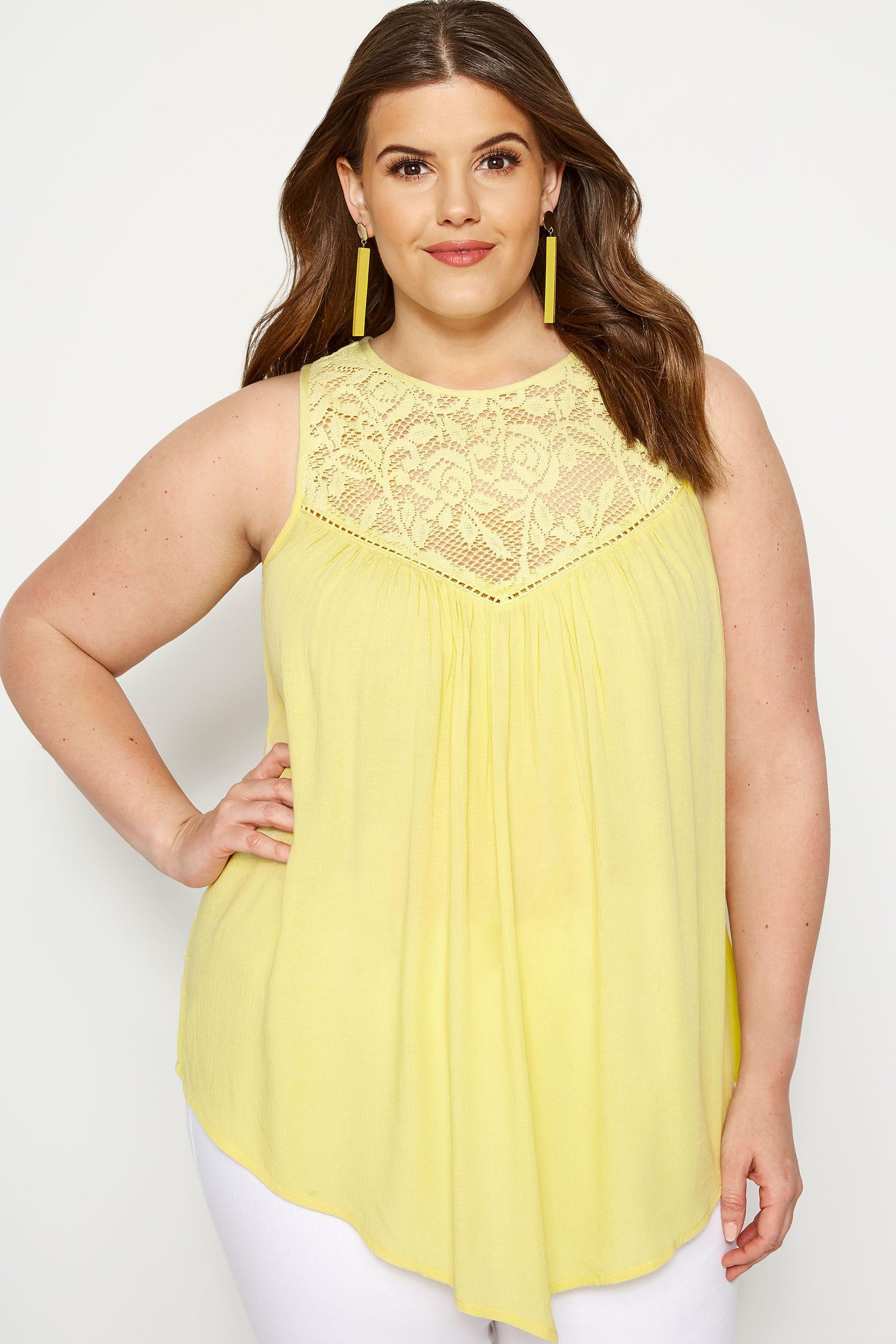 Yellow Lace Vest Top