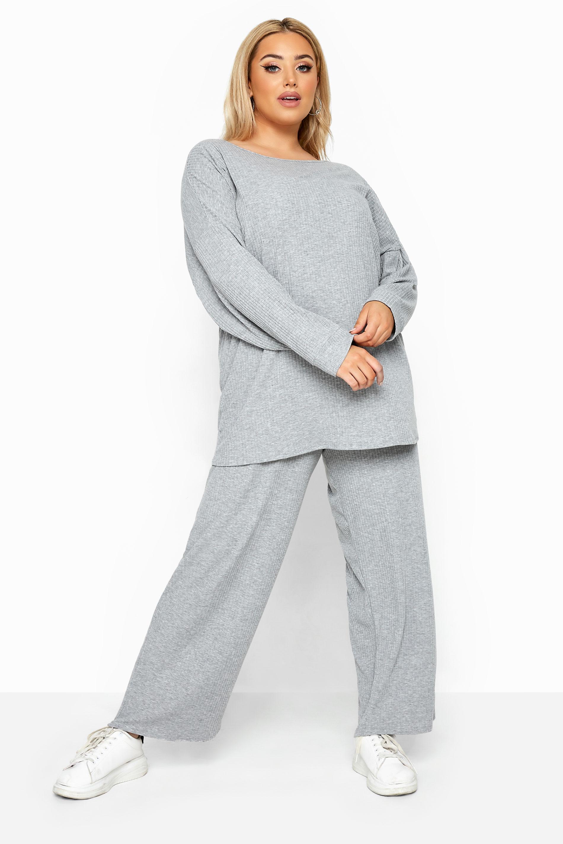 Grey Marl Ribbed Wide Leg Co-ord Lounge Pants
