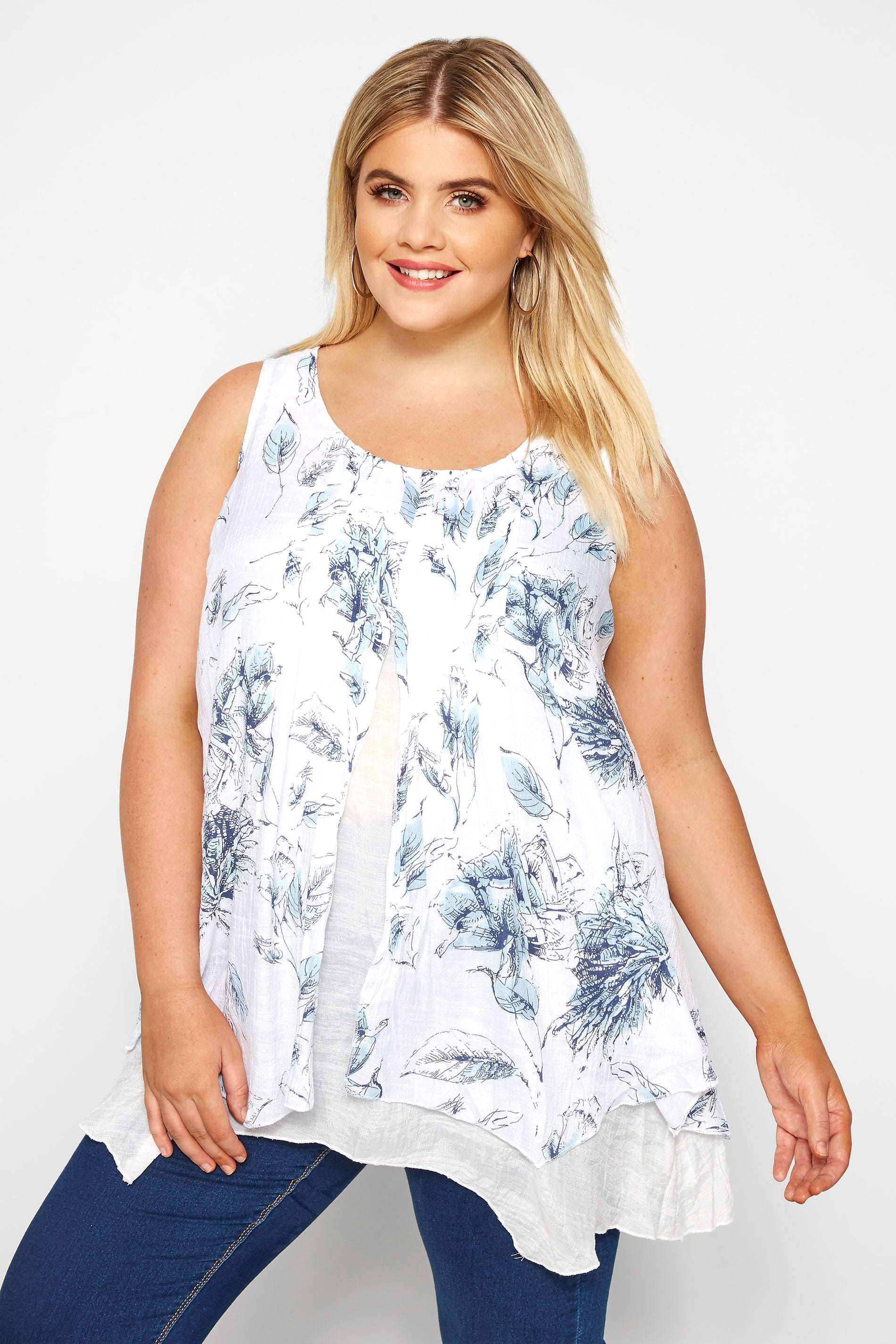 White & Blue Floral Double Layered Blouse