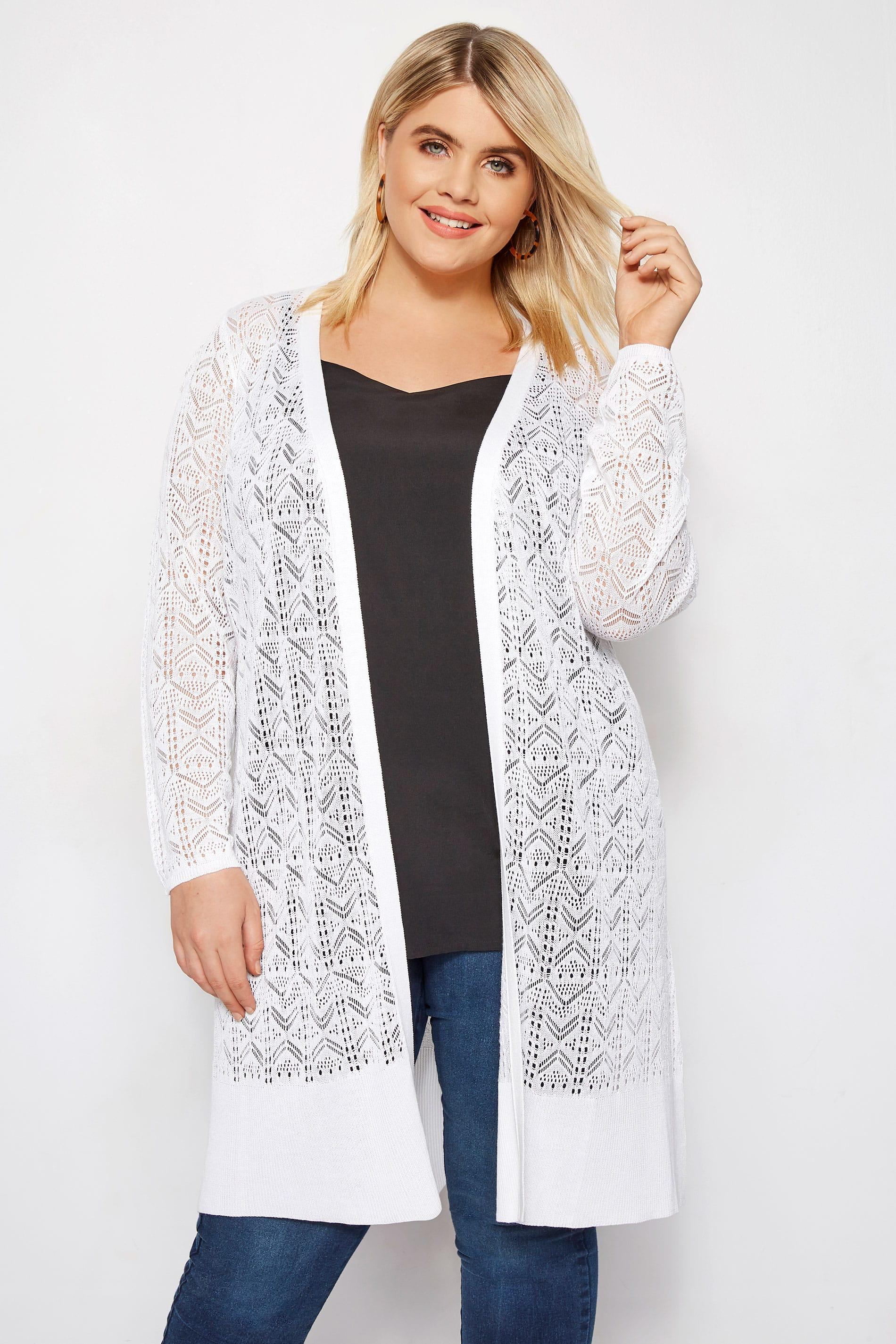 White Crochet Effect Longline Cardigan