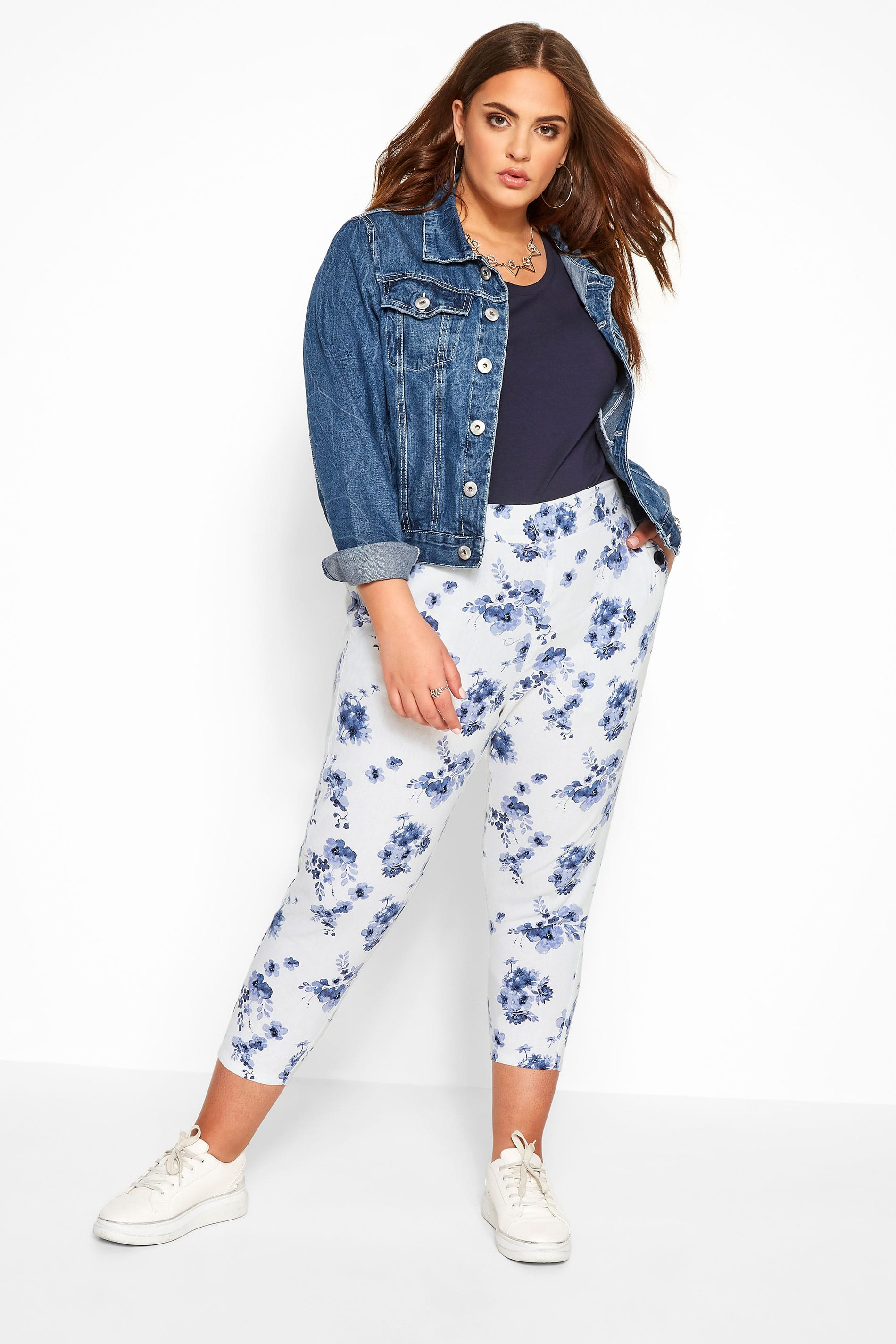 White Floral Linen Mix Cropped Trousers