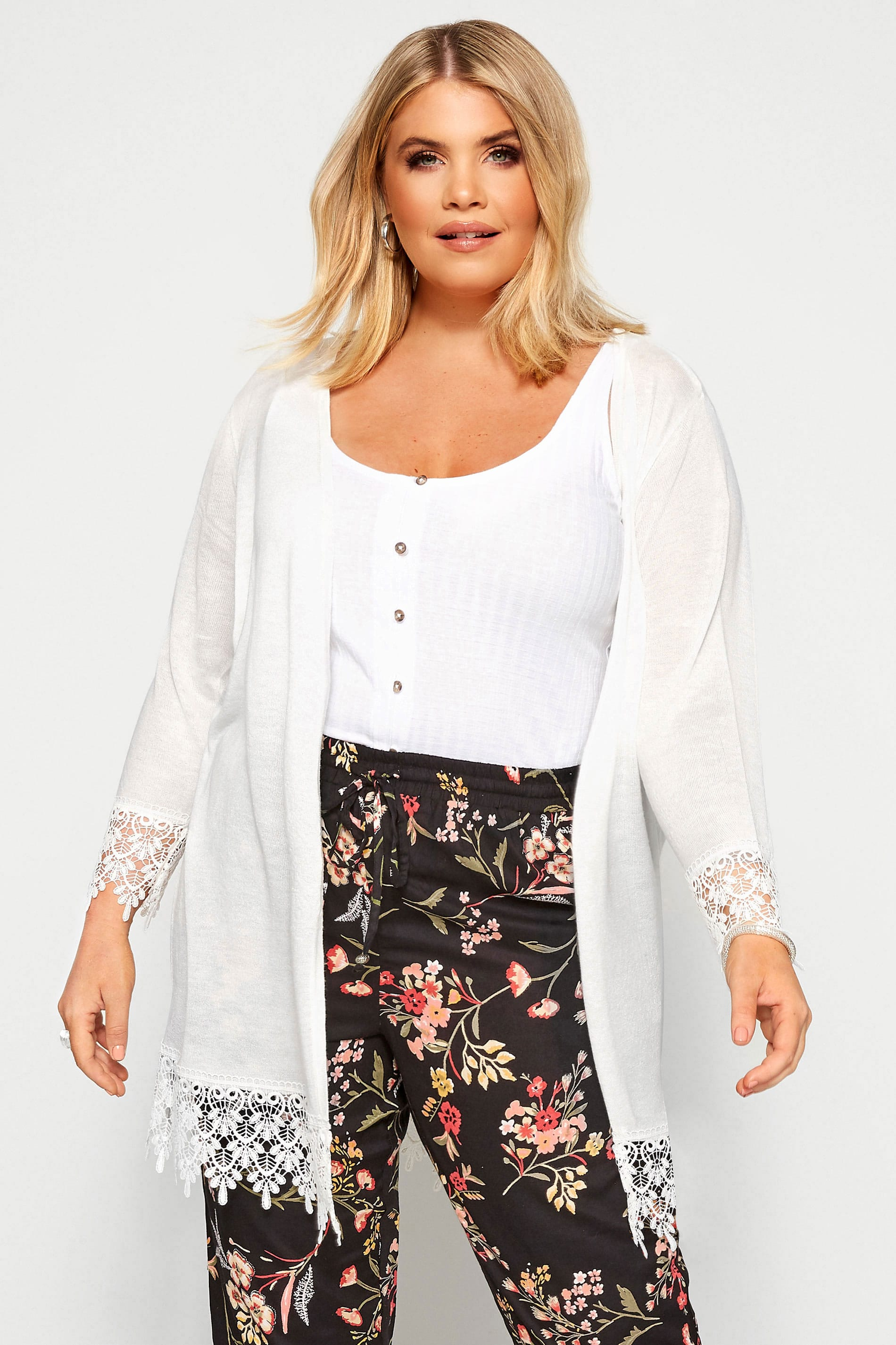White Lace Trim Cardigan