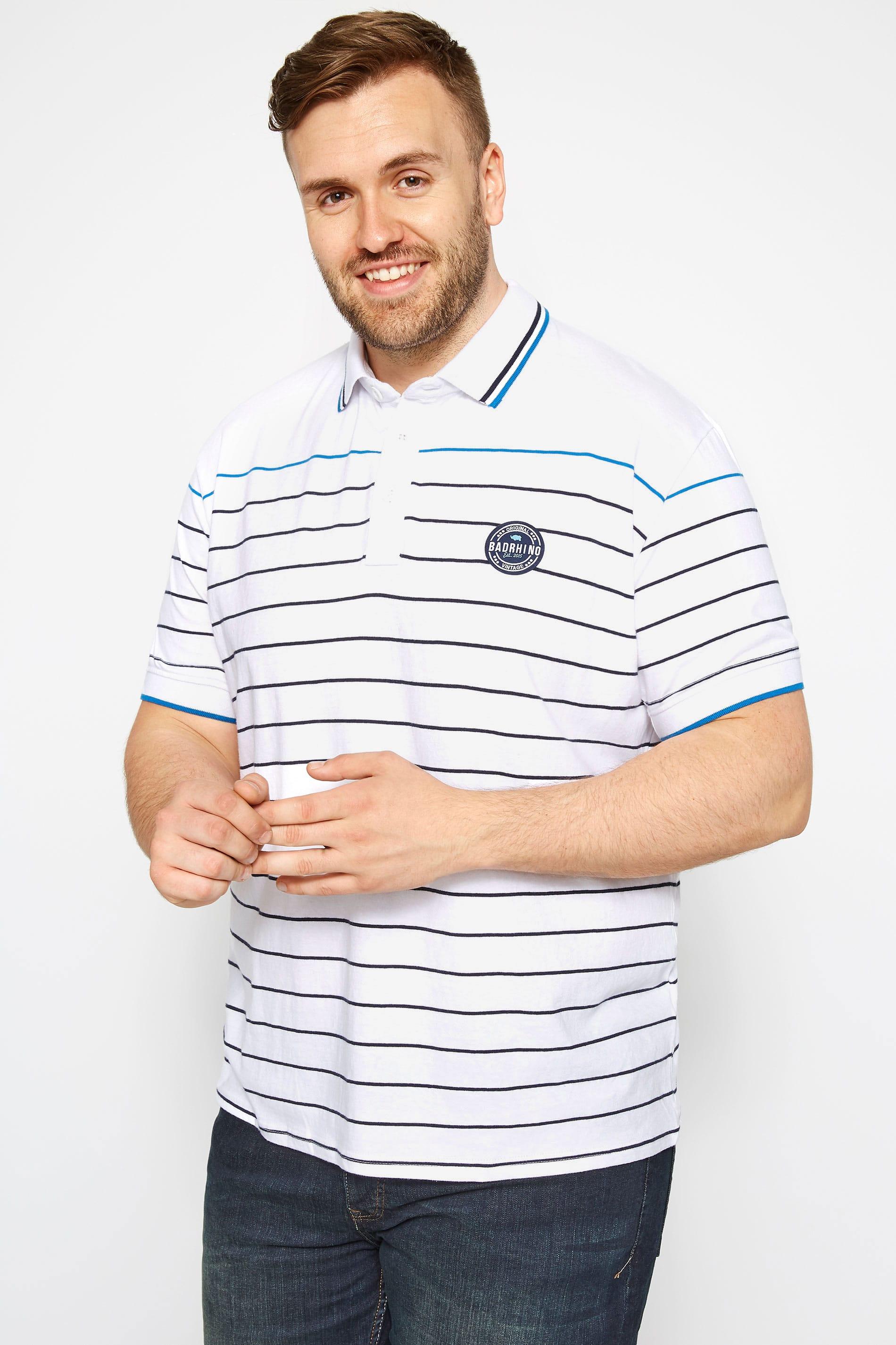 White Linear Striped Polo Shirt