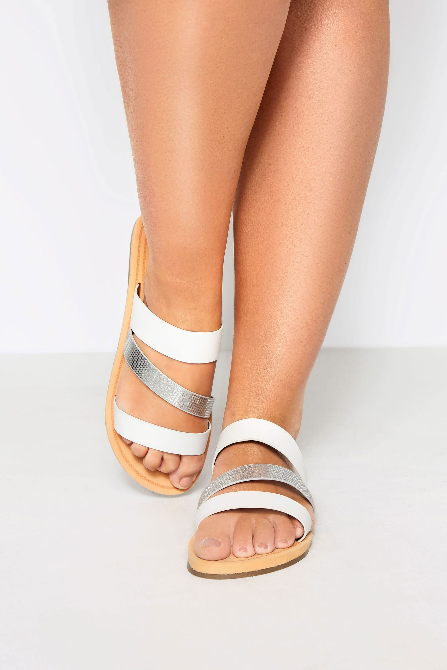 White Shimmer Strap Slider Sandals In Extra Wide Fit