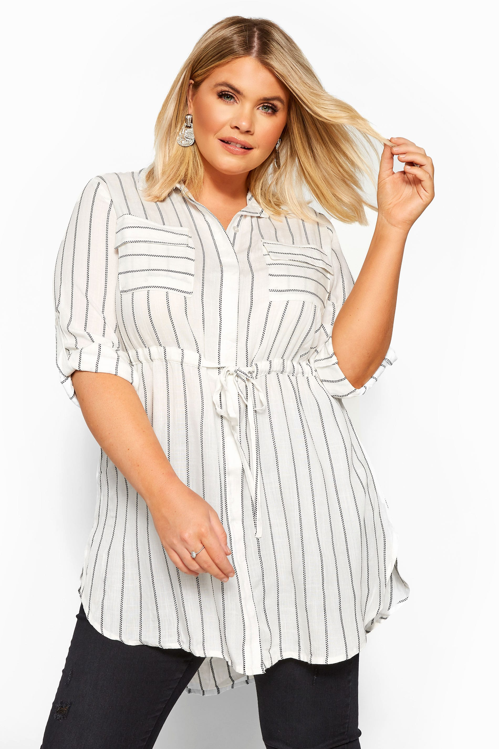 White Stripe Drawstring Waist Tunic