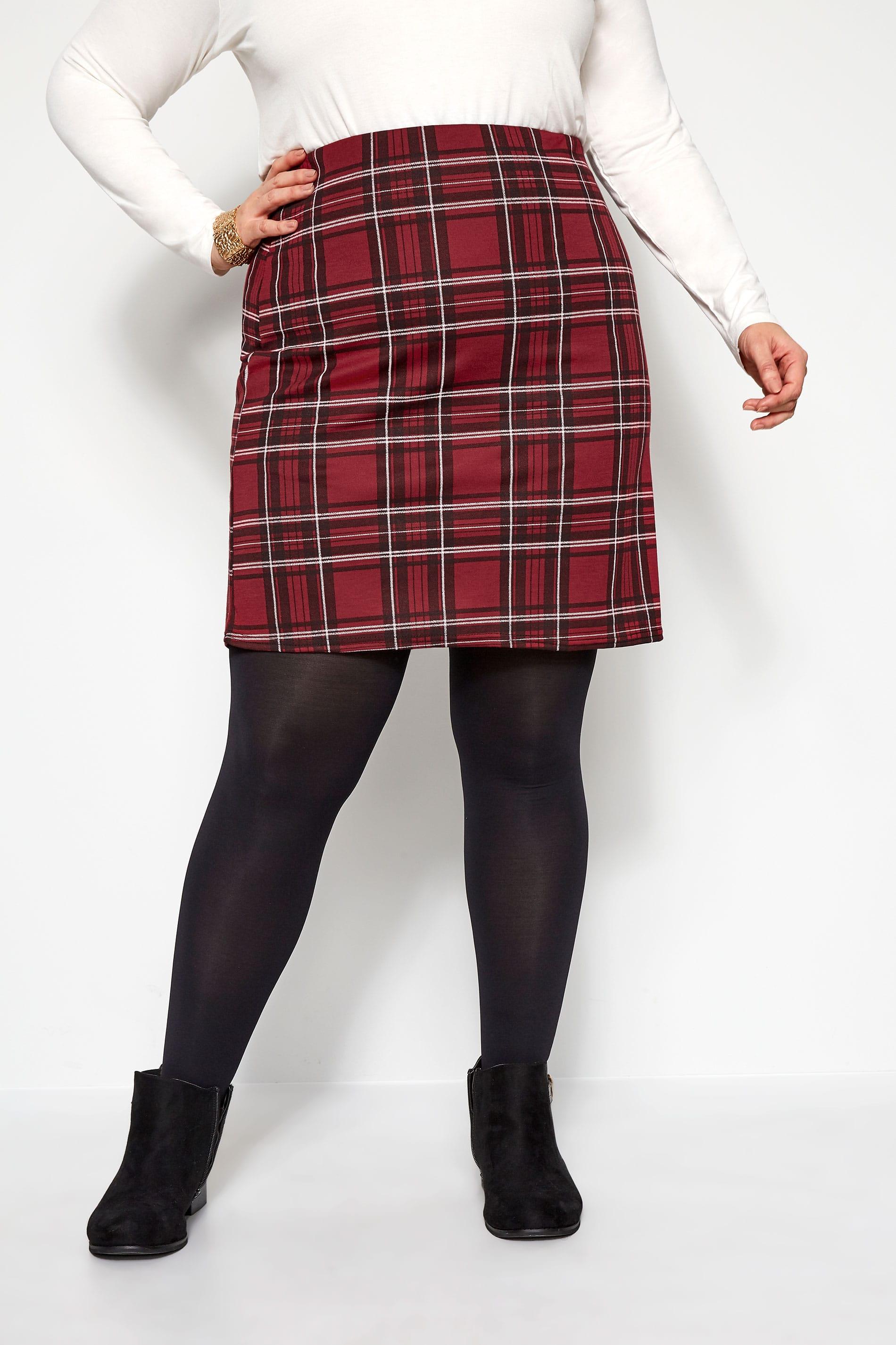 Spódnica mini w kratę, bordo