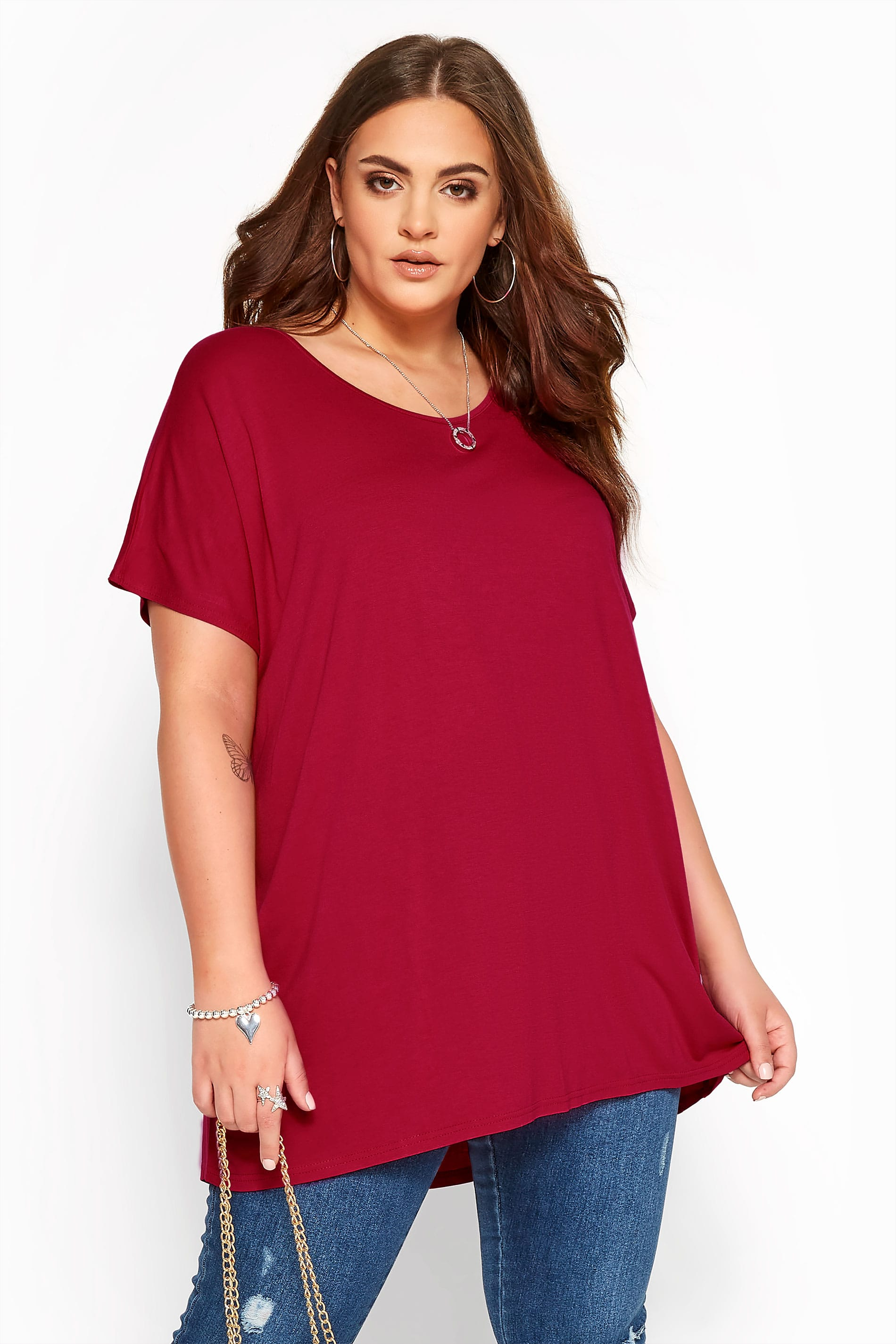 Wine Red Dipped Hem Top