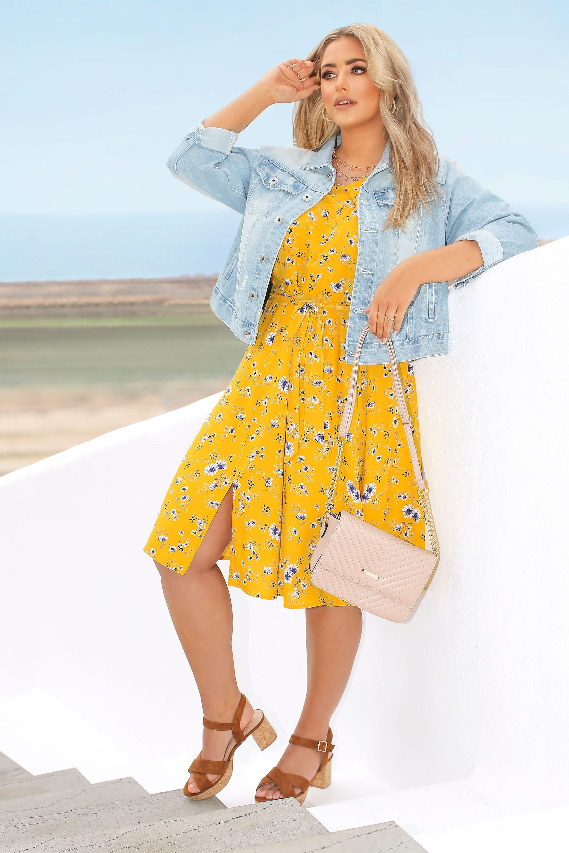 Yellow Floral Pleat Neck Dress