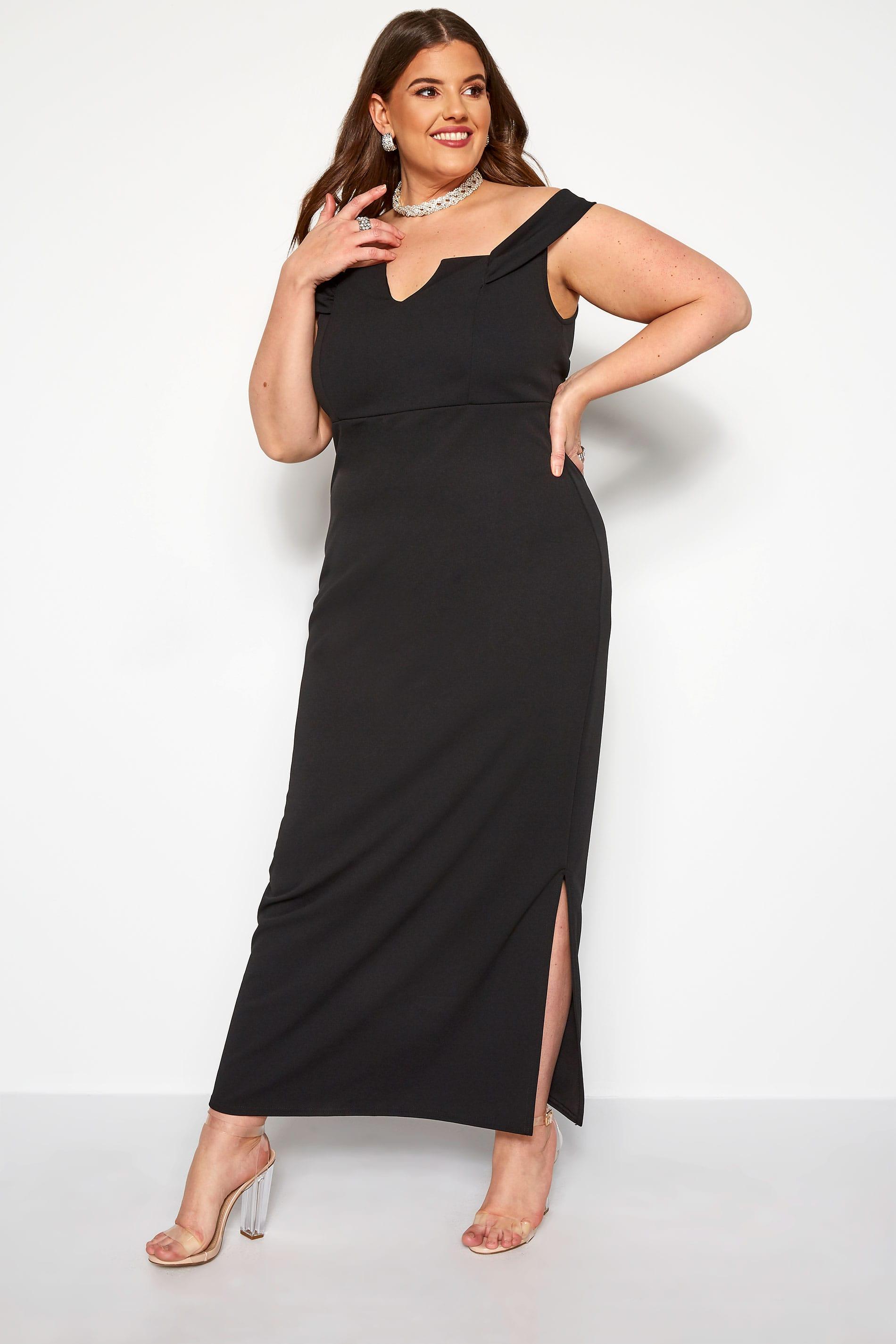 YOURS LONDON Black Bardot Maxi Dress
