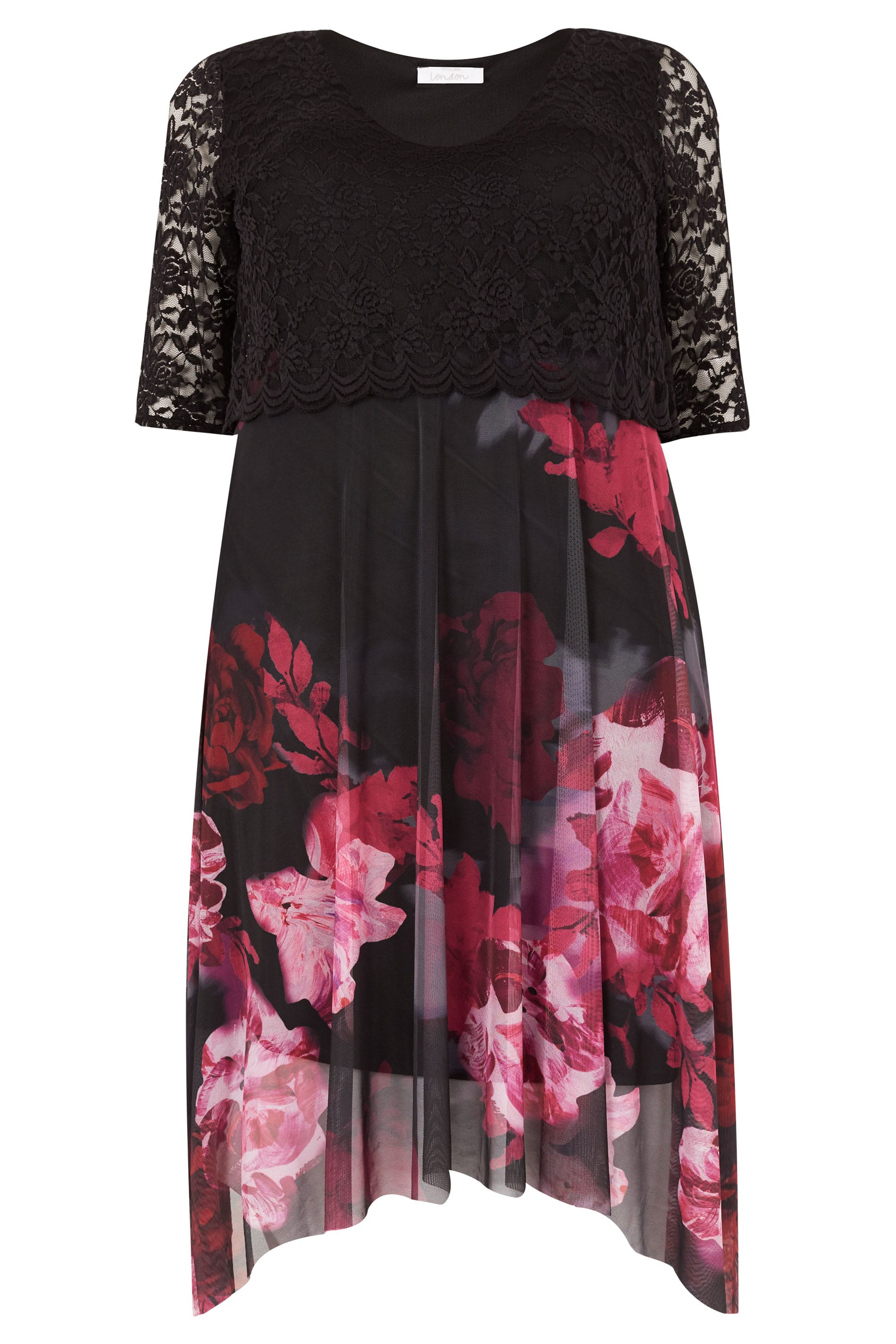 Yours London Black Berry Floral Dress With Lace Overlay