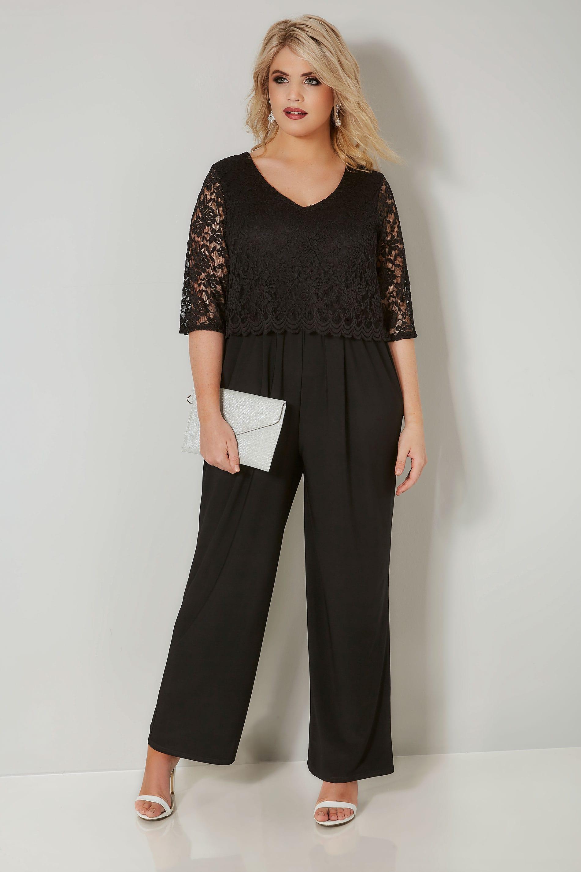 sale retailer 81c20 c85b0 YOURS LONDON Schwarzer Jumpsuit mit Spitze