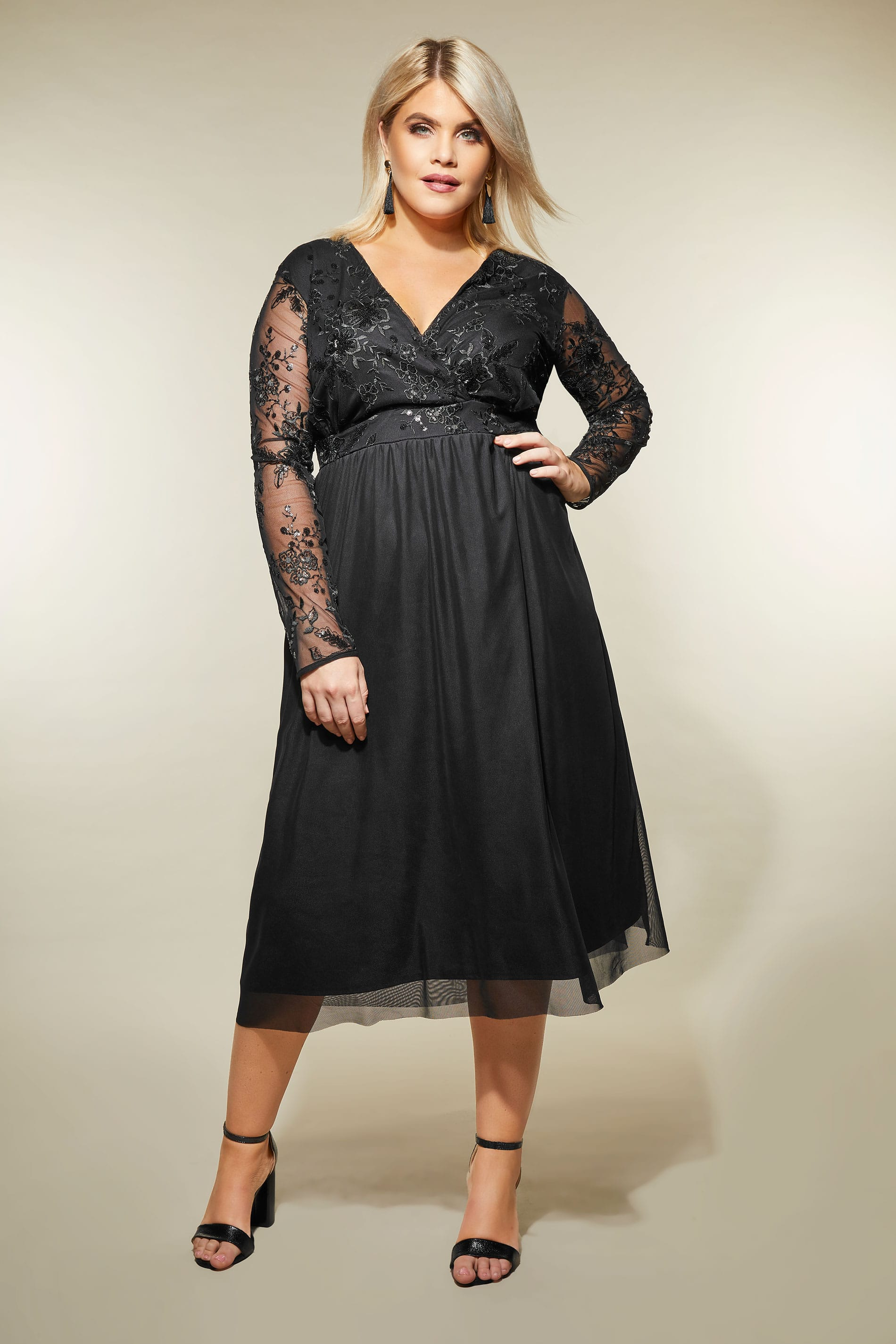 Yours London Black Sequin Embellished Lace Dress